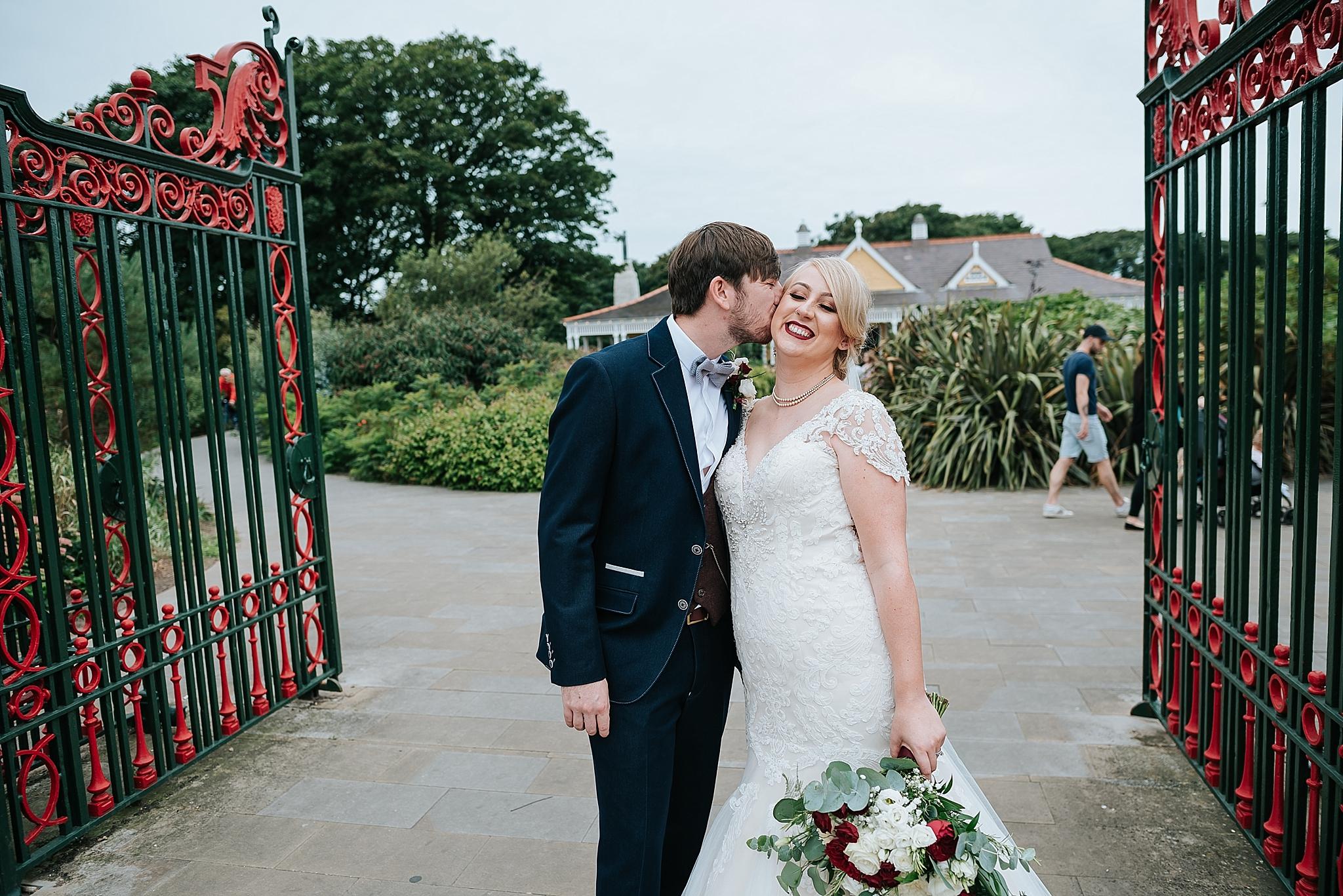 bride and groom outside ashton park in st annes