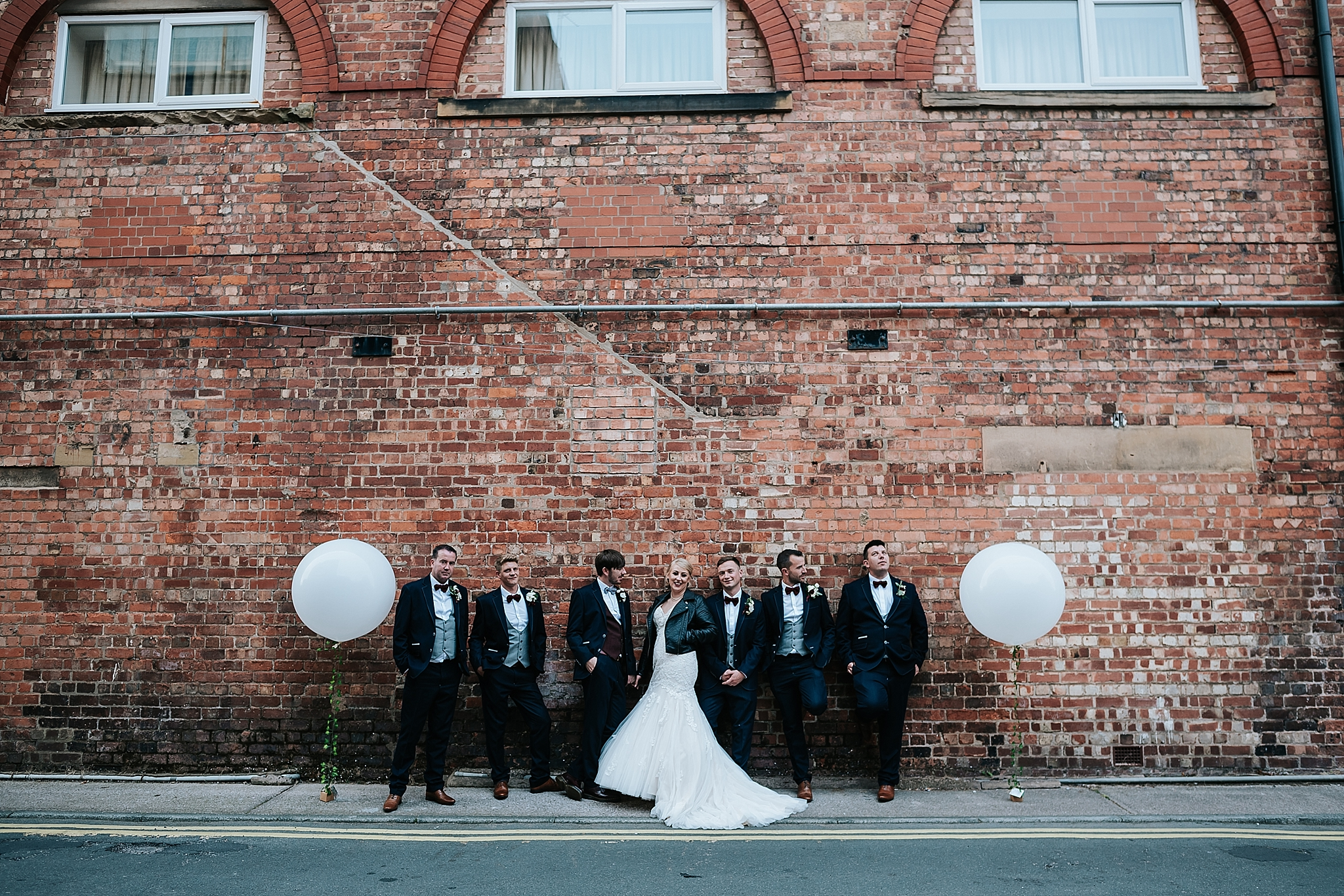 quirky bridal party image in st annes, lacanshire