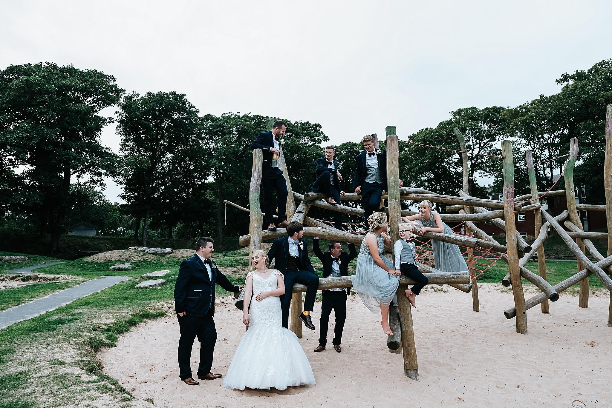 bridal group pictures in ashton park, st annes