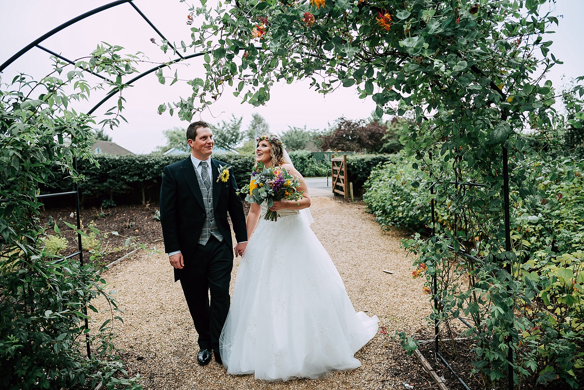 wedding photos in the village garden at ribby hall