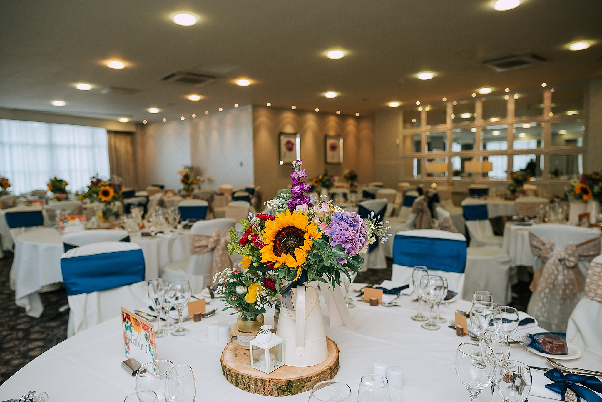 wedding breakfast set up in the garden room at ribby hall village