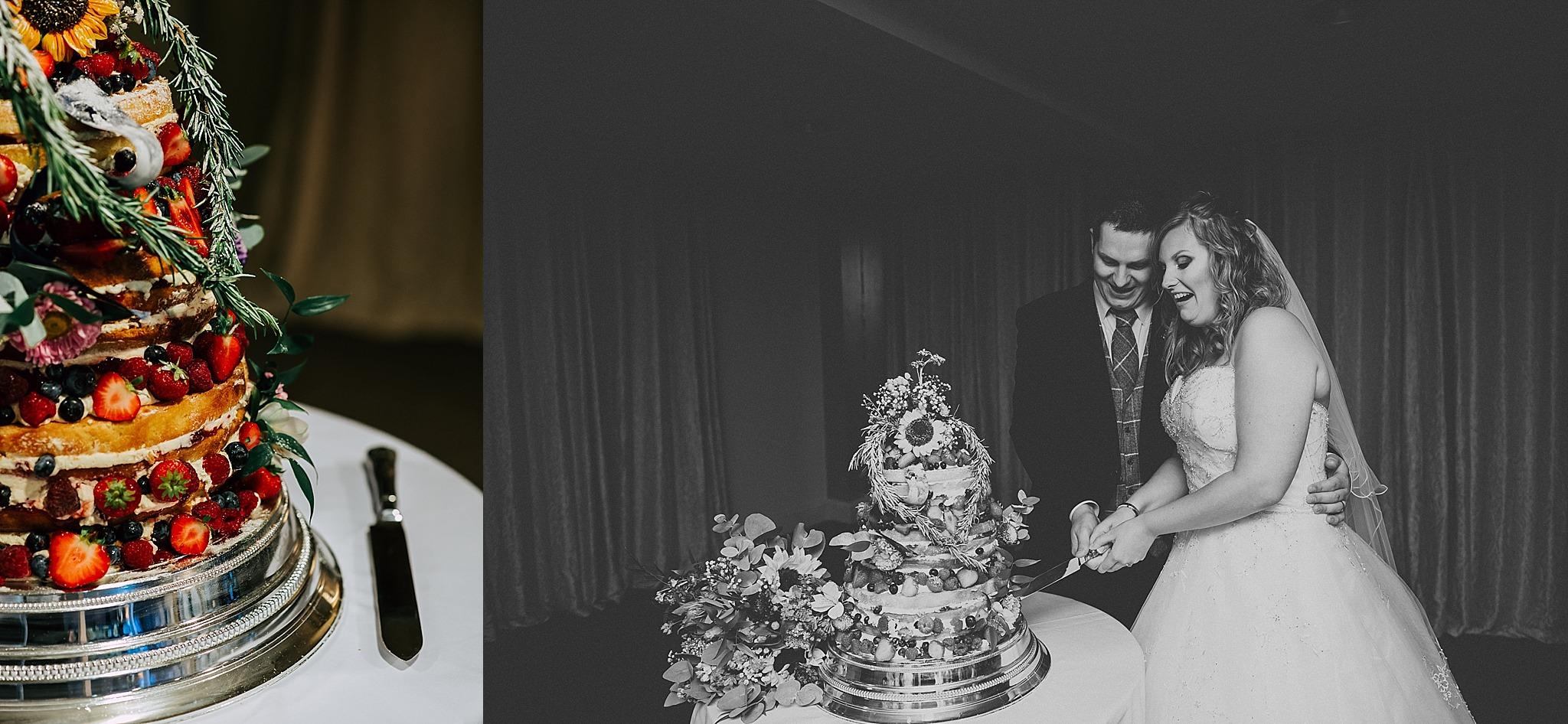 cake cutting at wedding at ribby hall