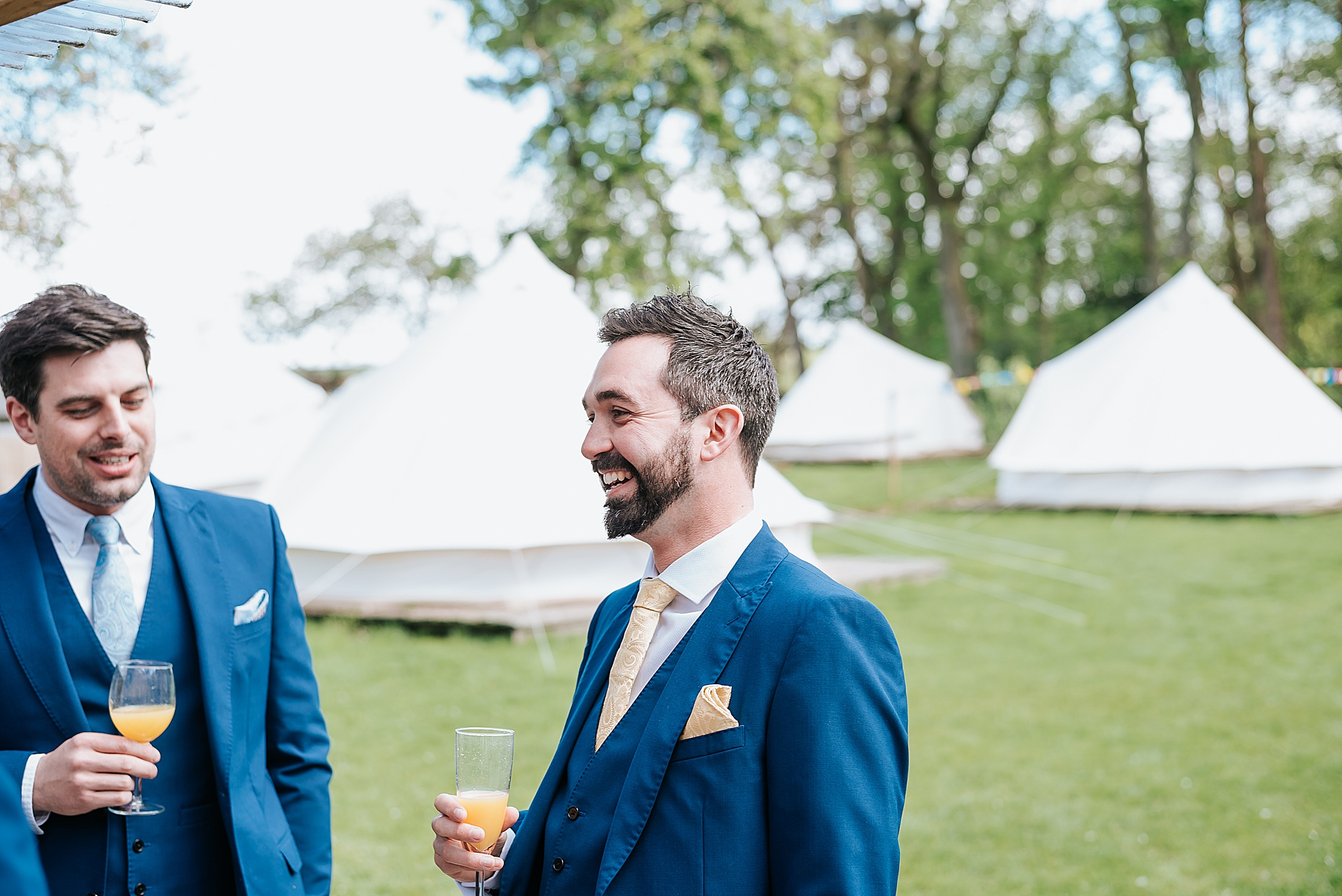groom gets ready for wedding in glamping pods at wyresdale park
