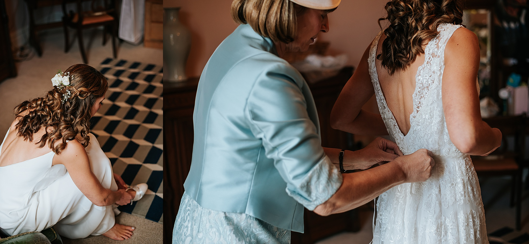 mum does up brides dress at wyresdale park