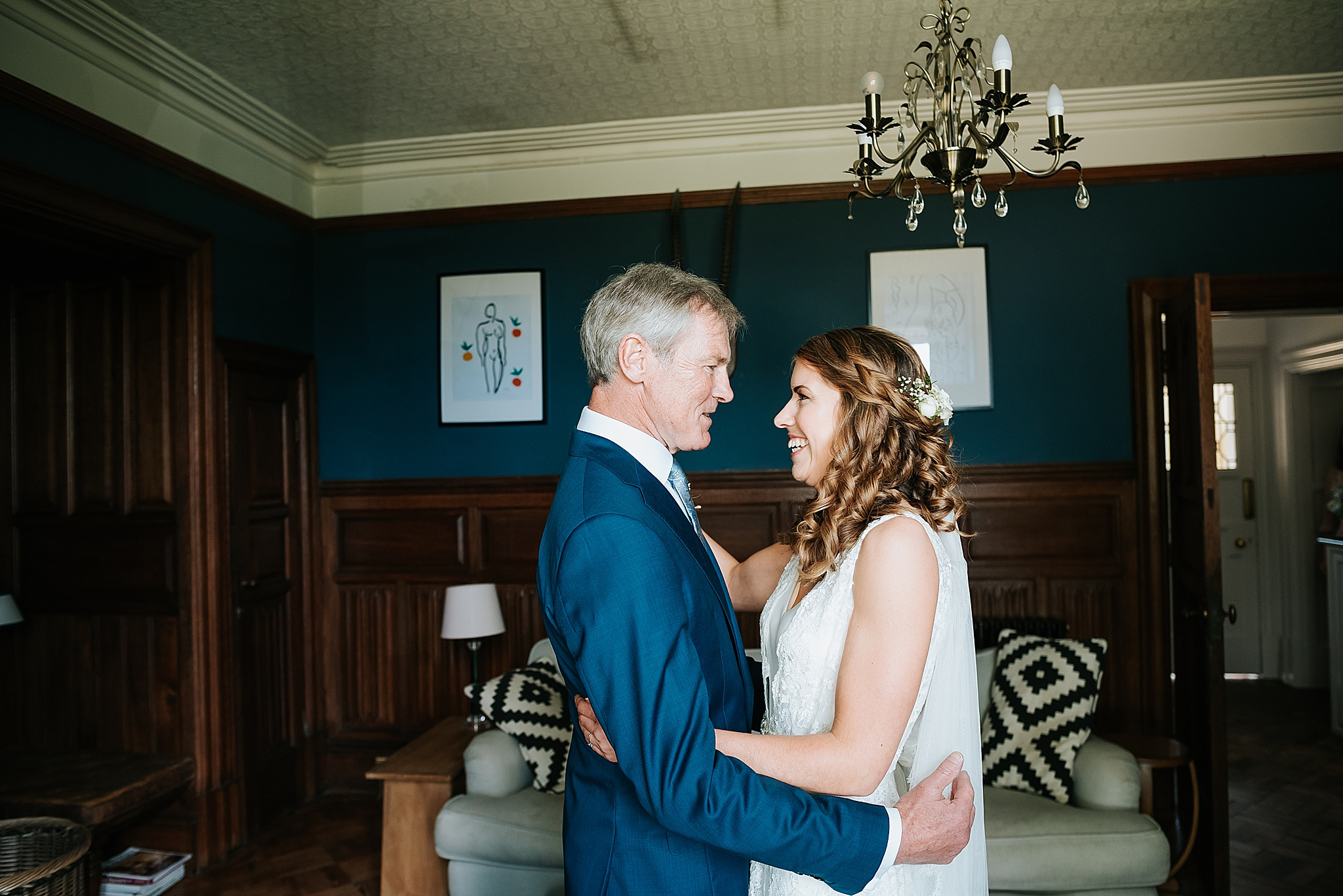father of the bride sees bride for the first time at wyresdale park