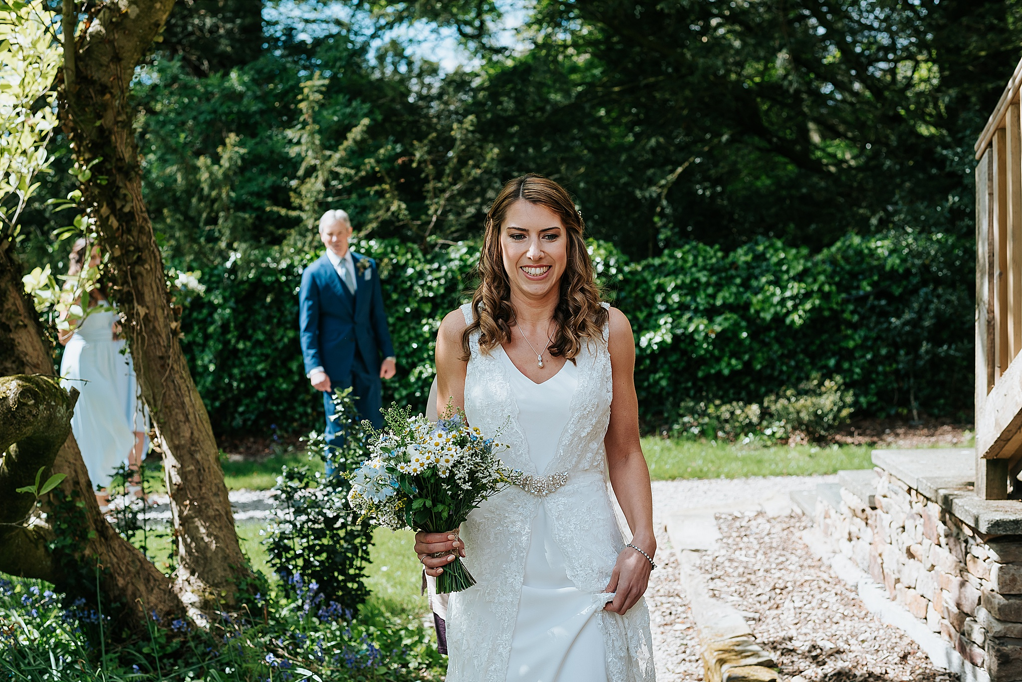 bride at spring barn wedding near preston