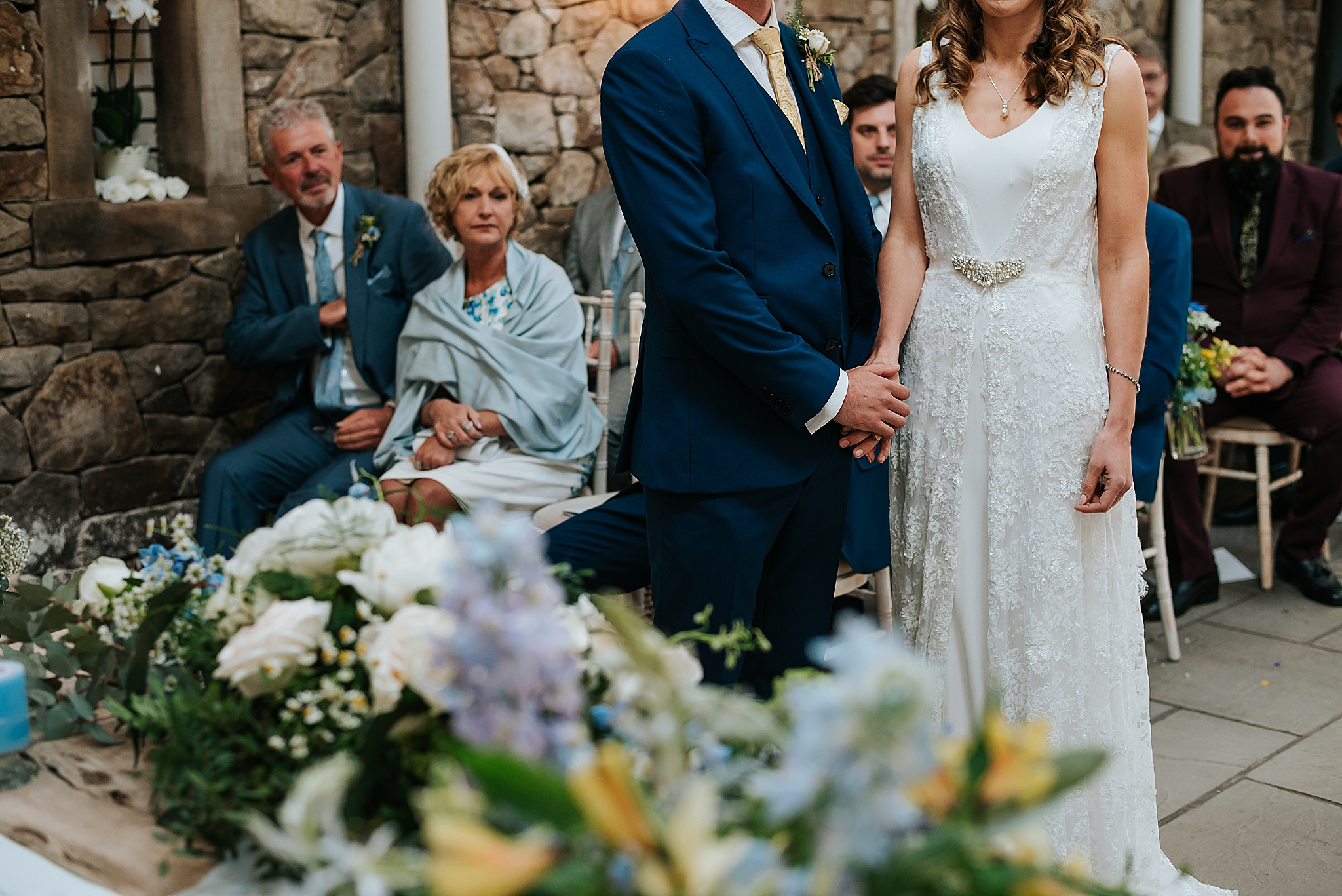wedding ceremony in barn near preston