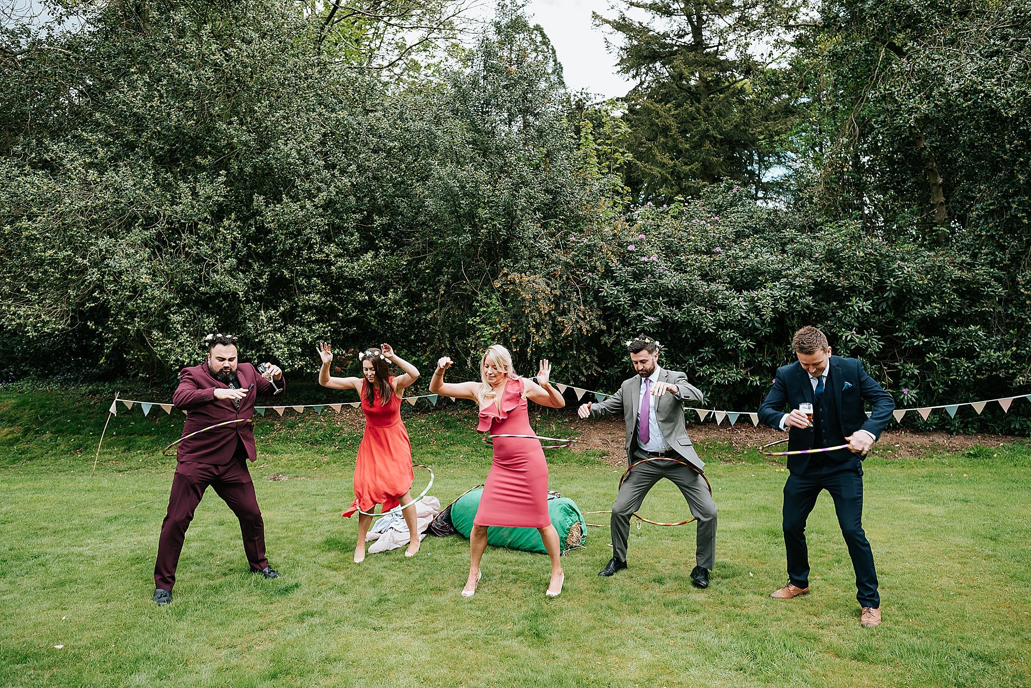 guests having fun at festival themed wedding near preston in lancashire
