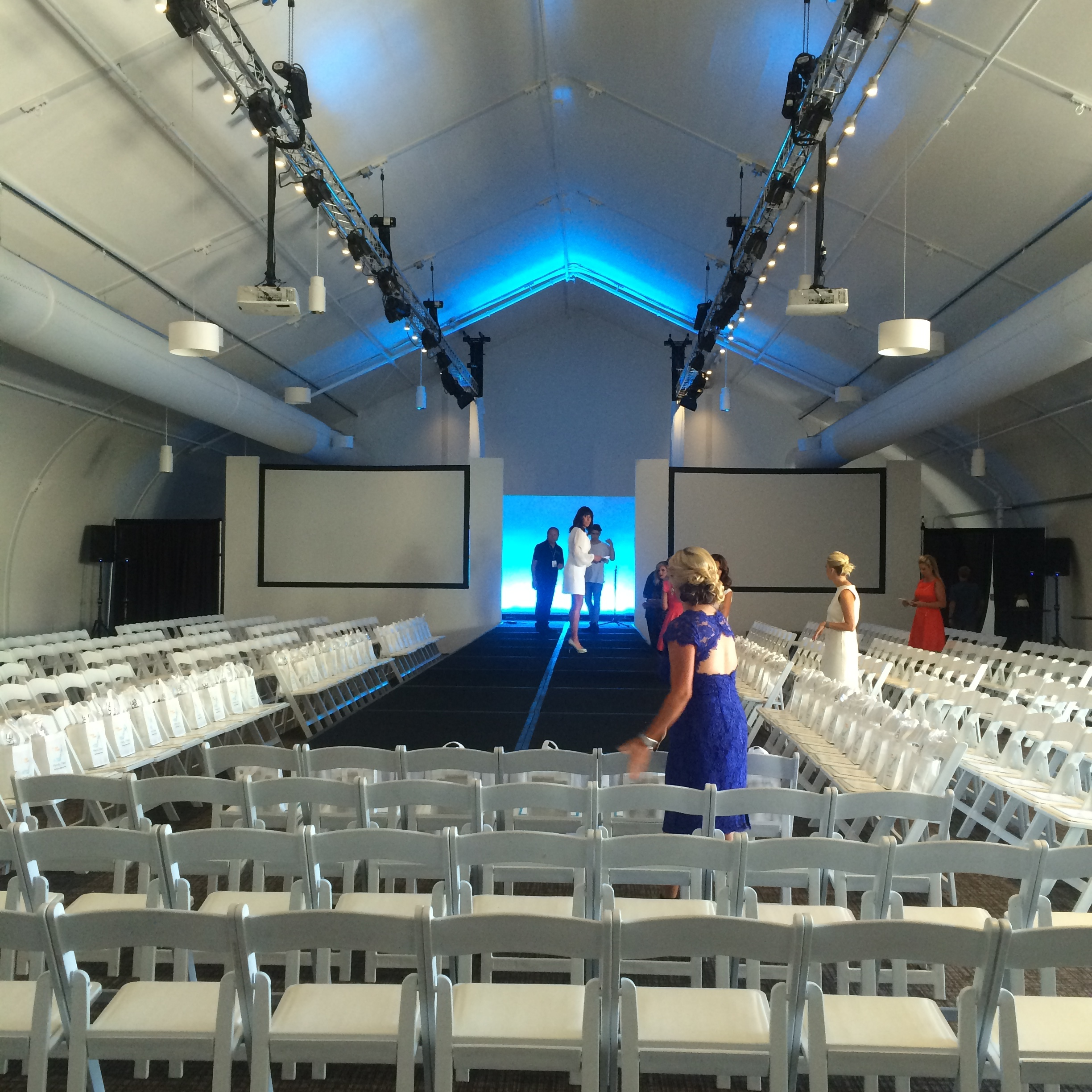 Setup for Fashion show runway music at Hotel Irvine.jpg