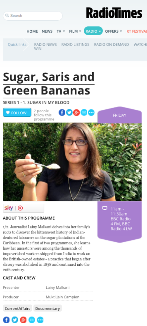 Sugar, Saris and Green Bananas | Series 1 - 1. Sugar in My Blood | Radio Times.png