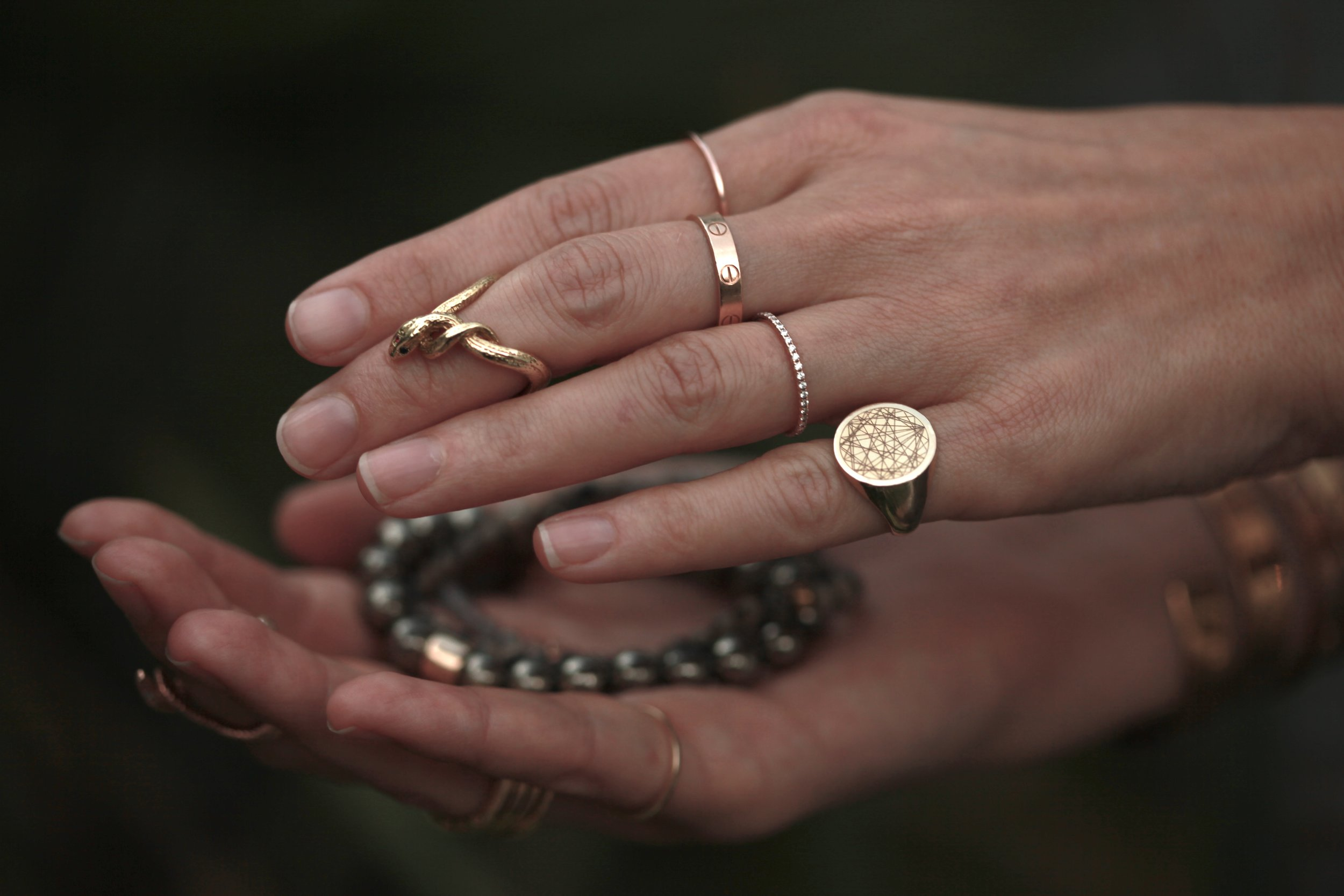 Manifest your abundance by thanking and energetically charging your treasures with love and gratitude. - our favorite treasures are our pyrite essential magic bracelet (available in studio by appt only) and our espiritutara x Astral Oracles ring.