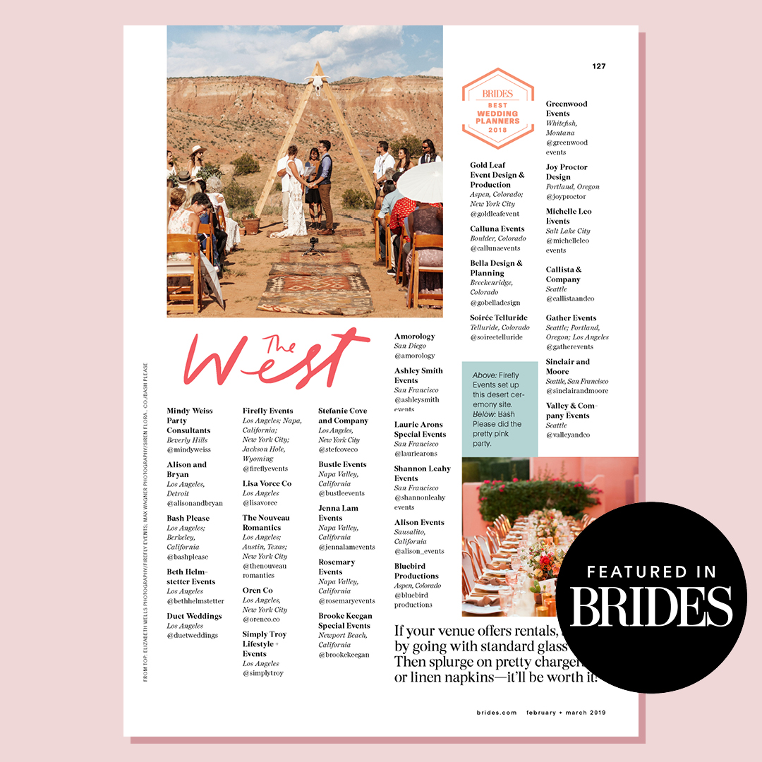 Brides 2018 | Named top wedding planner in SF