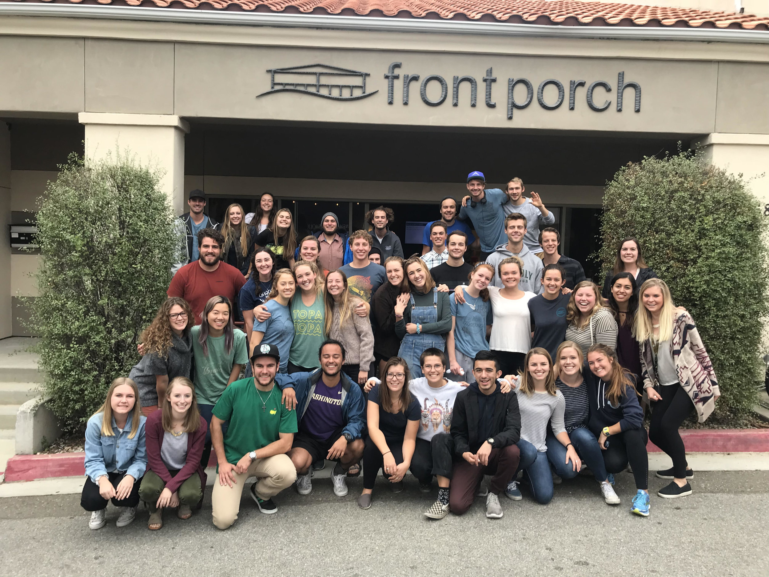 Fall 2017 Front Porch volunteers  -  T  he passion these students have for Front Porch is evident in the love and time they give to their fellow students. Front Porch would not exist without our volunteers and supporters.