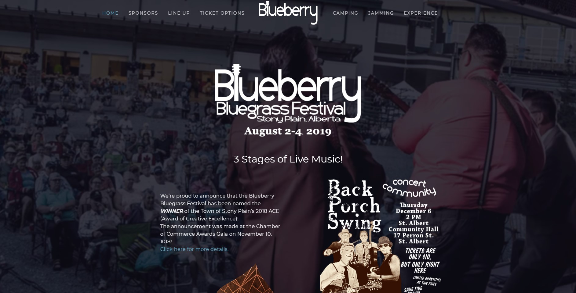 Blueberry Bluegrass Festival website redesign