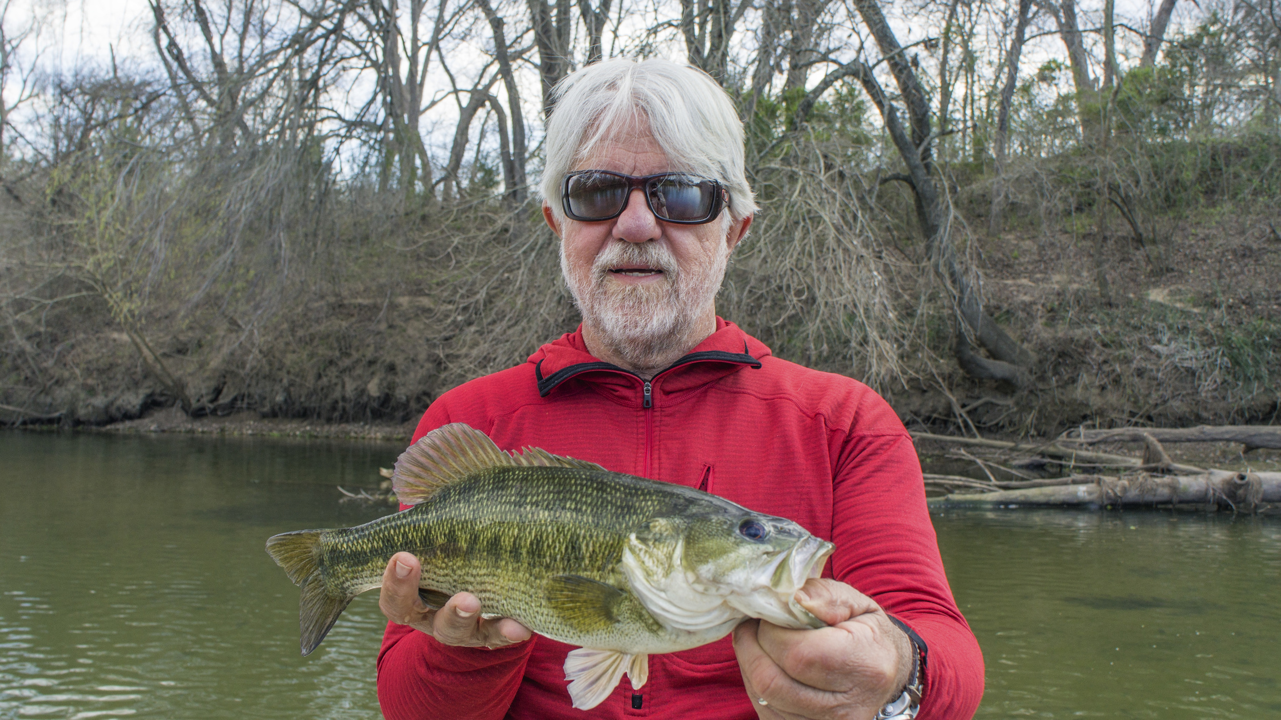 Mike Thompson with a big Guadalupe Bass from the Colorado River