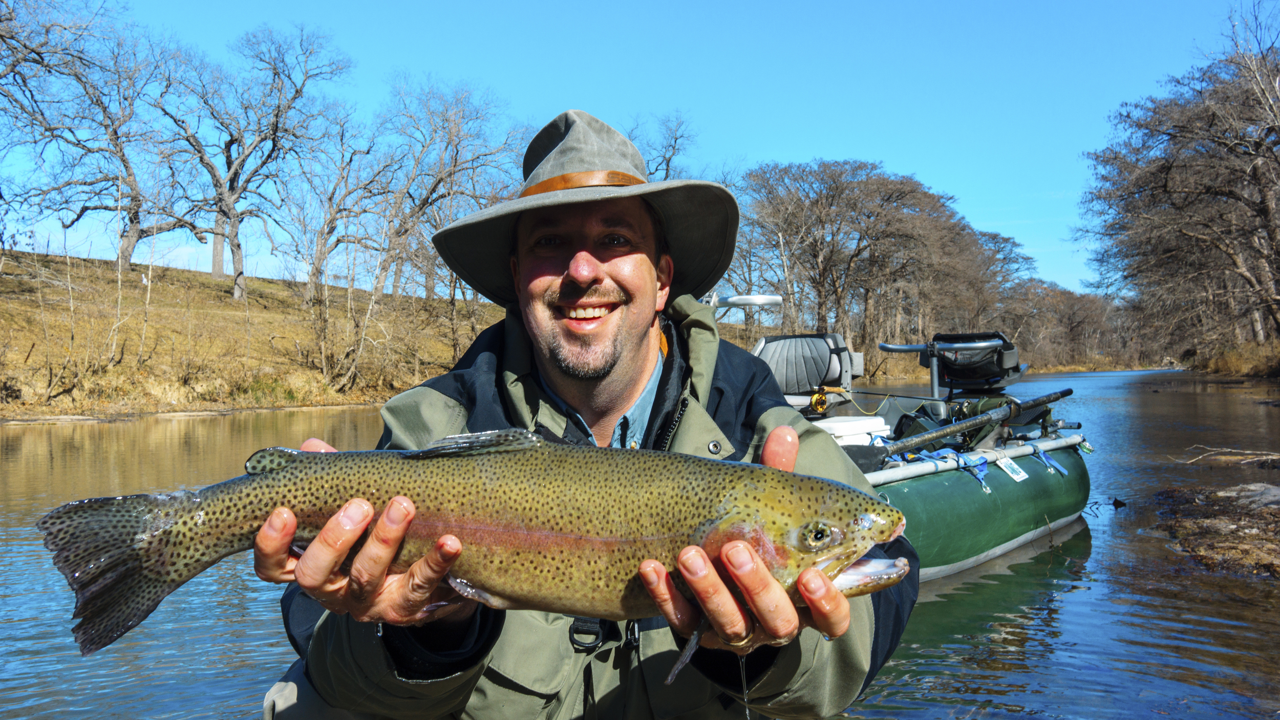Allen with a huge Guadalupe Rainbow Trout