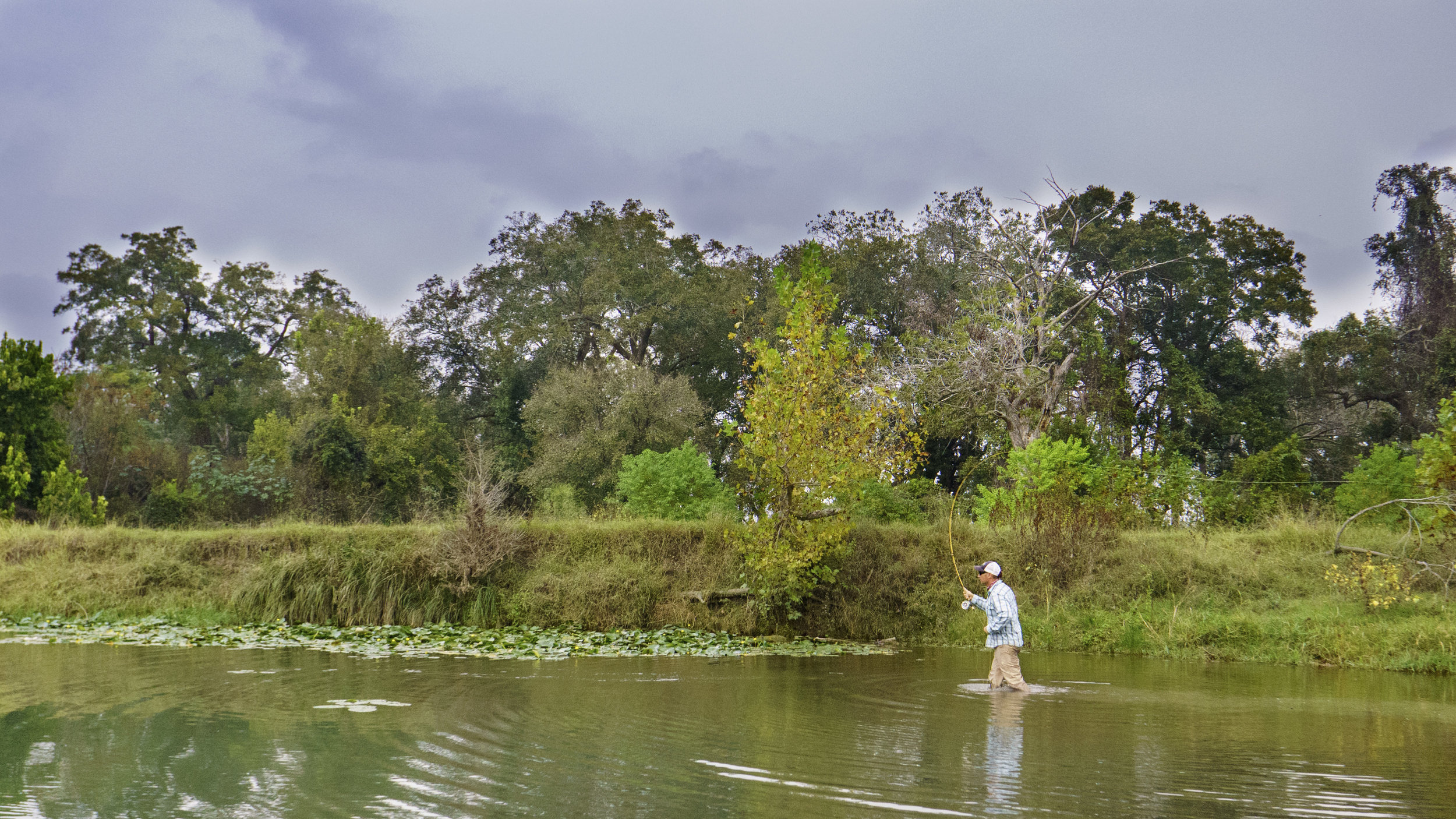 Wade fishing on the San Marcos River