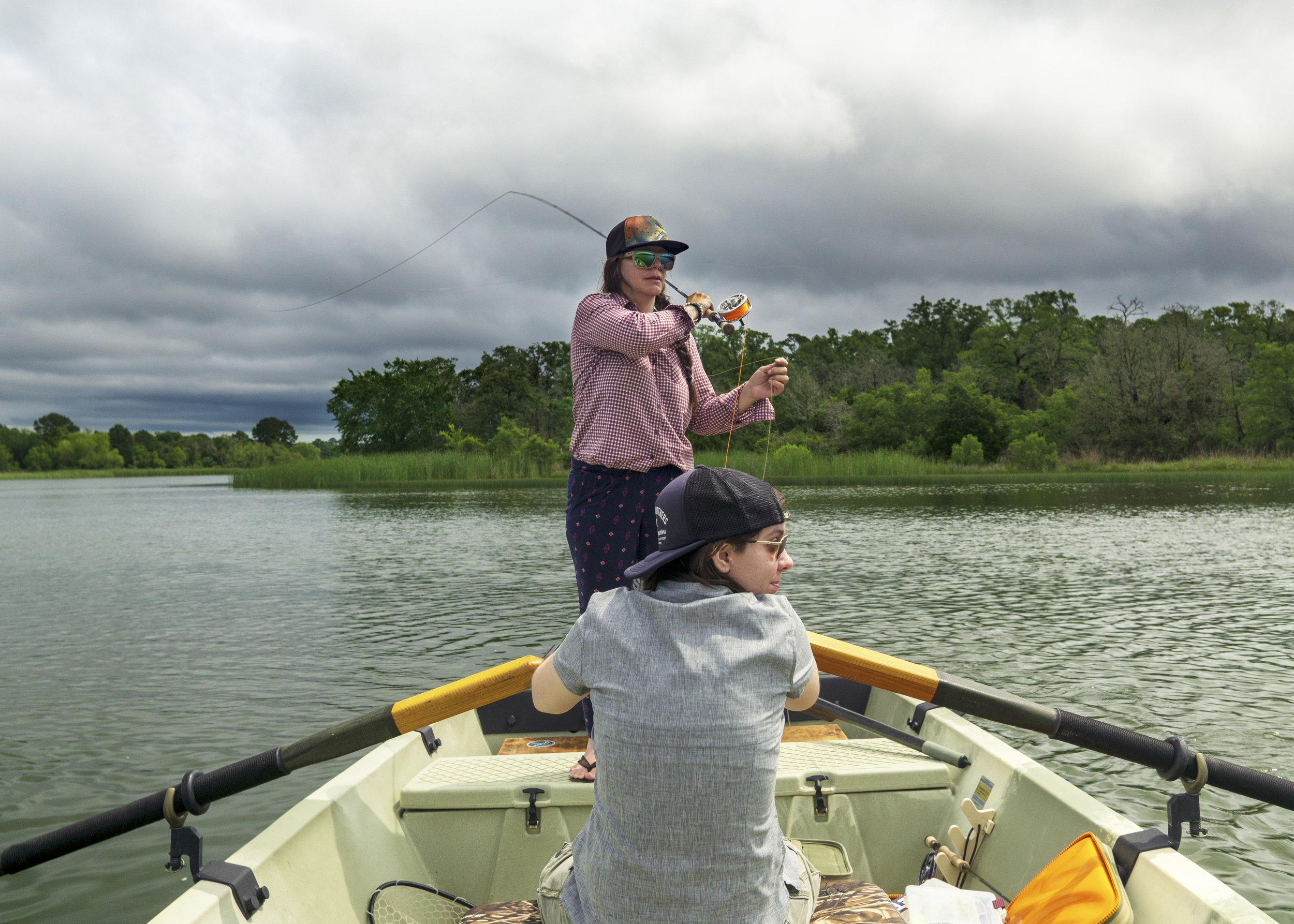 Fly fishing for Bass on Lake Bastrop