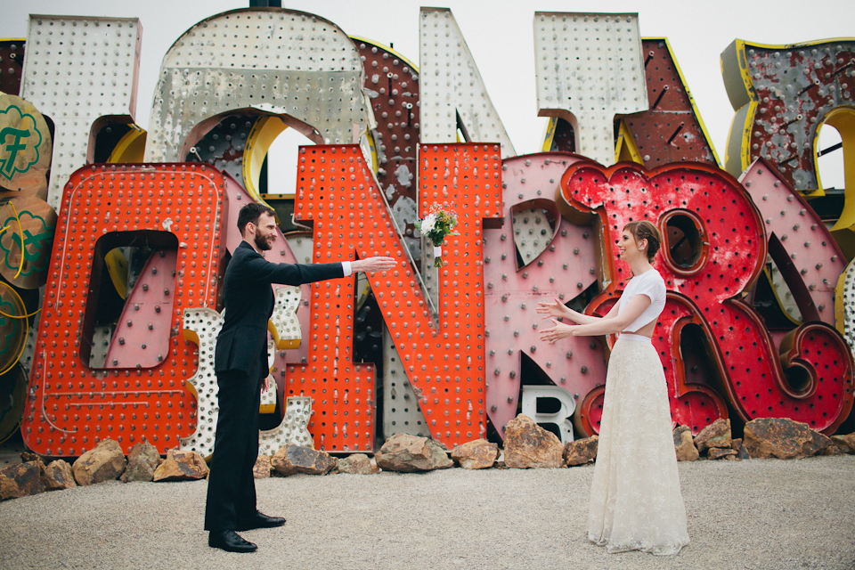 neon museum wedding photography