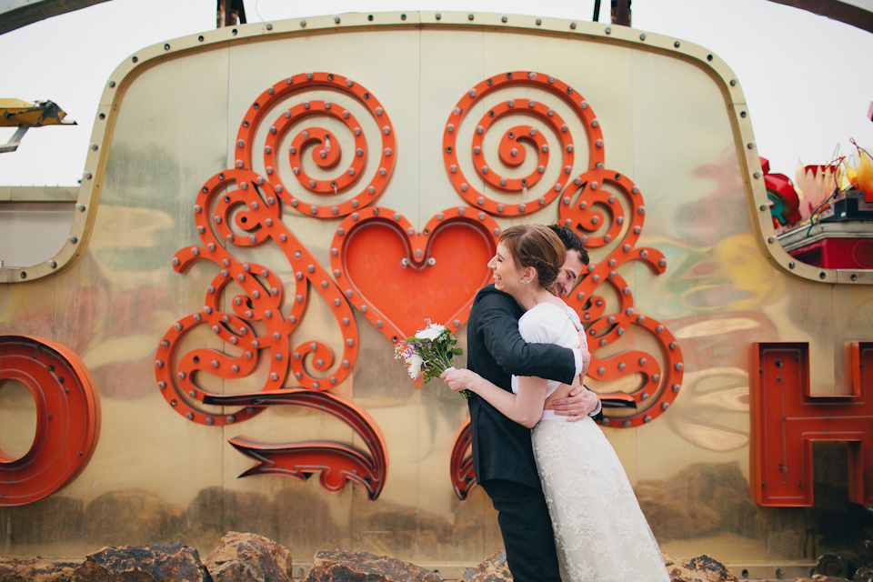 neon museum elopement photography