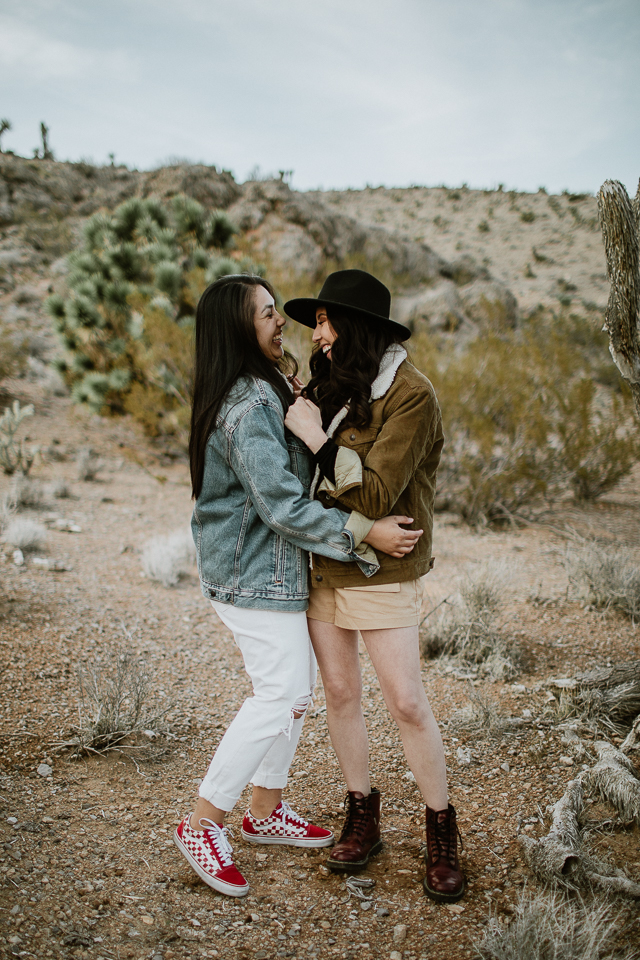 Same sex las vegas desert engagement session