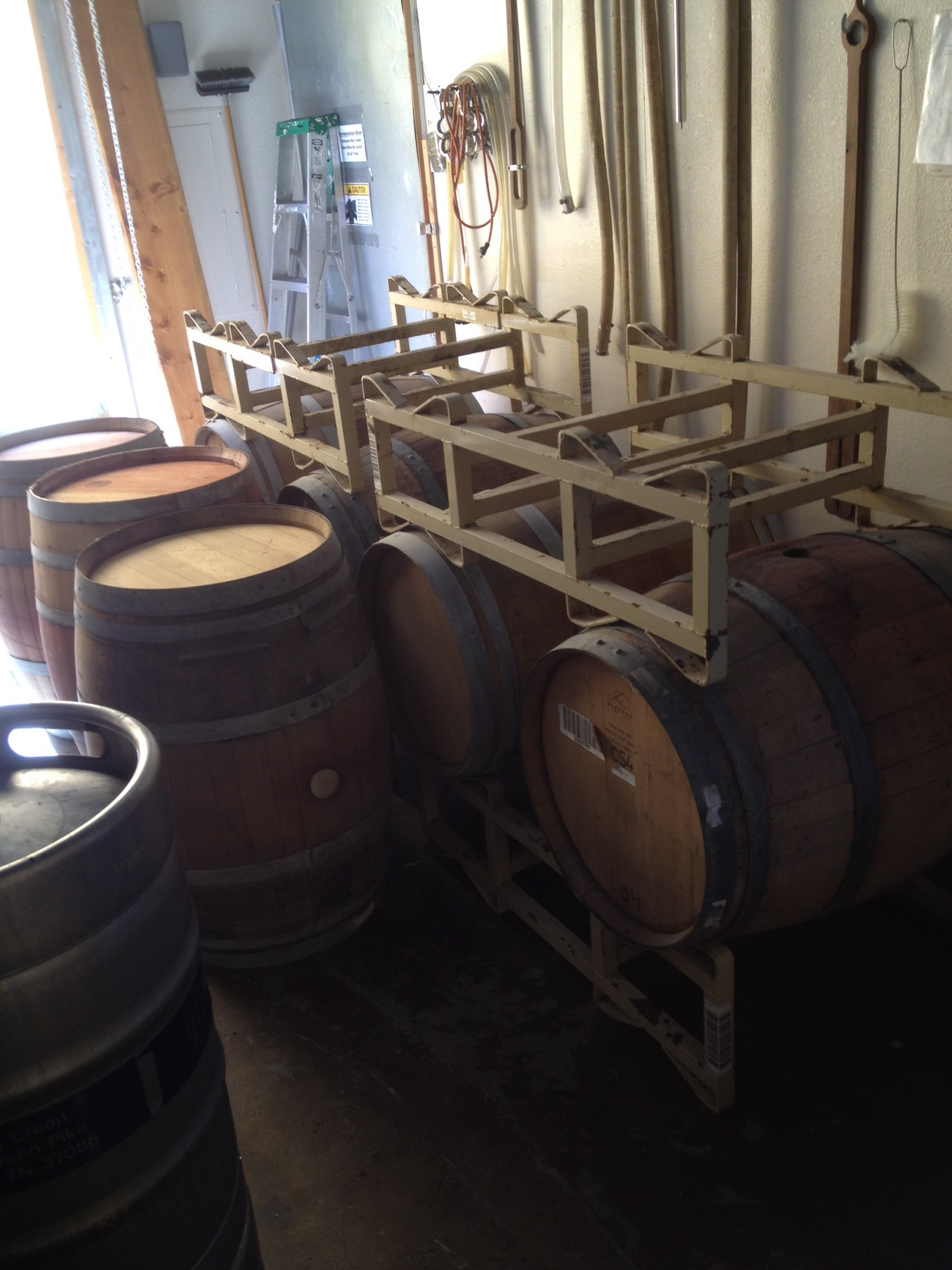 We now have 16 barrels in our little brewery. Some of these barrels will be used for our 1 year anniversary beer! 8 months away!!