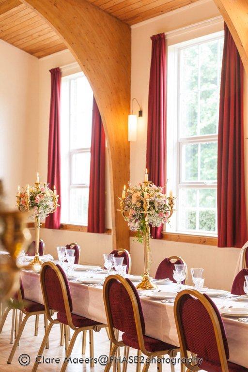 Village hall wedding venue table settings 1