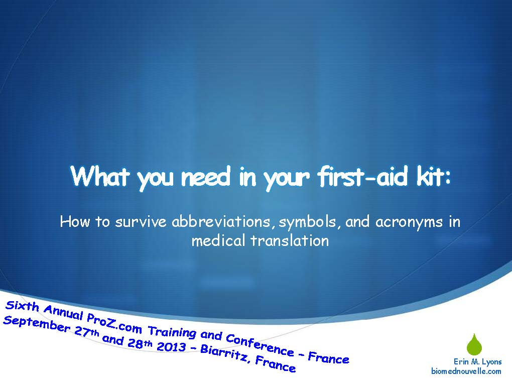 Sixth Annual ProZ.com Training and Conference - France