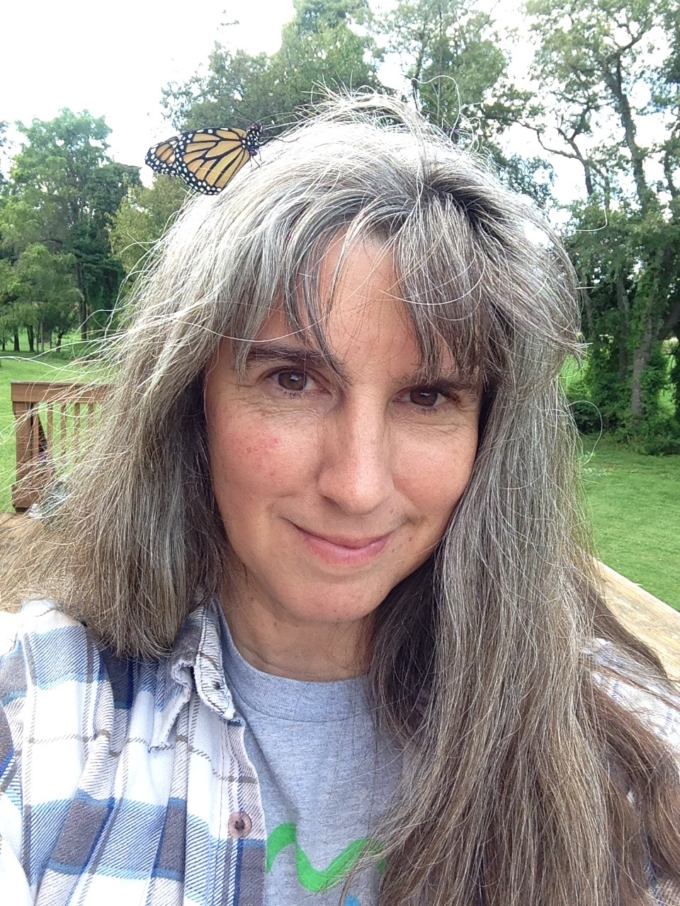 butterfly on gina's head