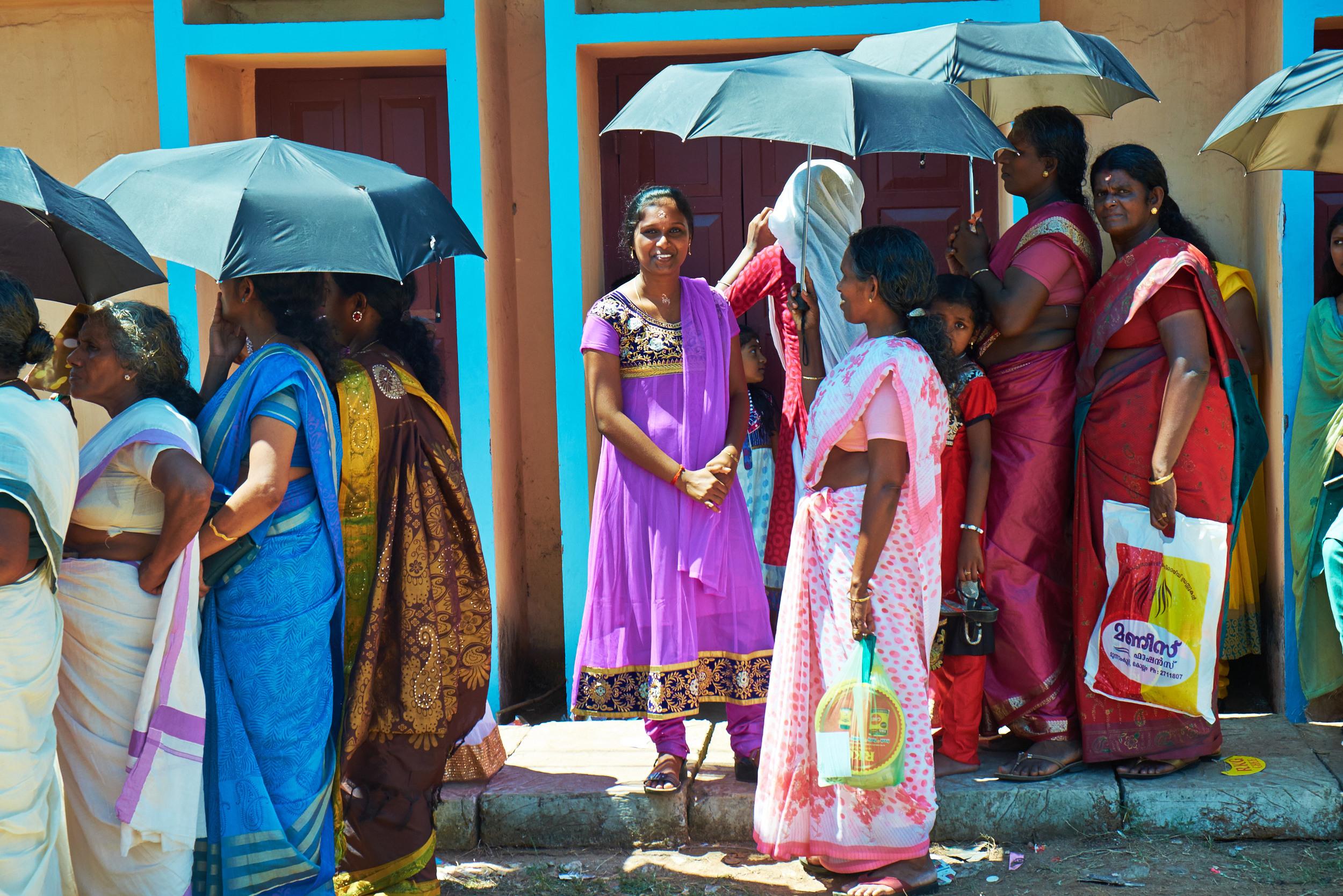 In Queue for Vishu Meal, Kollam.