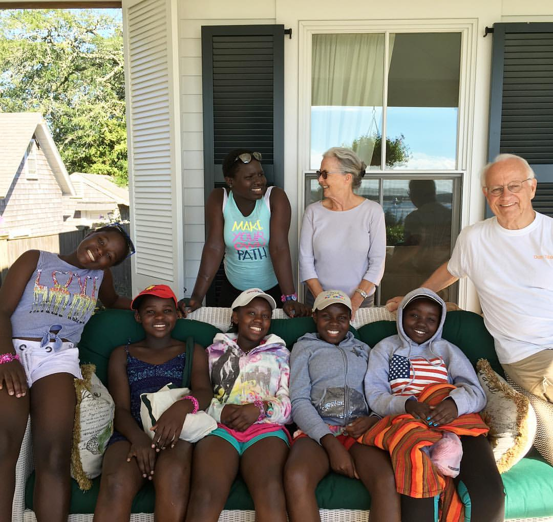 Some of our Kibera School for Girls students with Linda and Bob Forrester, the President and CEO of Newman's Own Foundation. The picture was taken this summer when the girls were here for leadership programs.