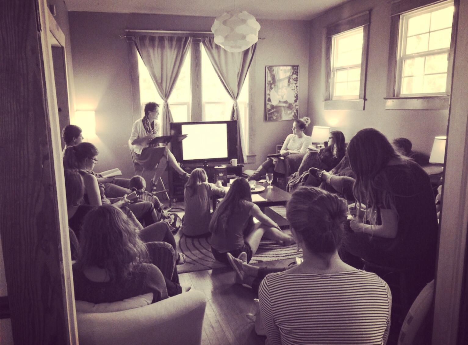 Jennifer Strange teaching on Hospitality to the Stranger in the Yellow House living room. September 7, 2014.