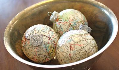 Paper-mache map ornaments...