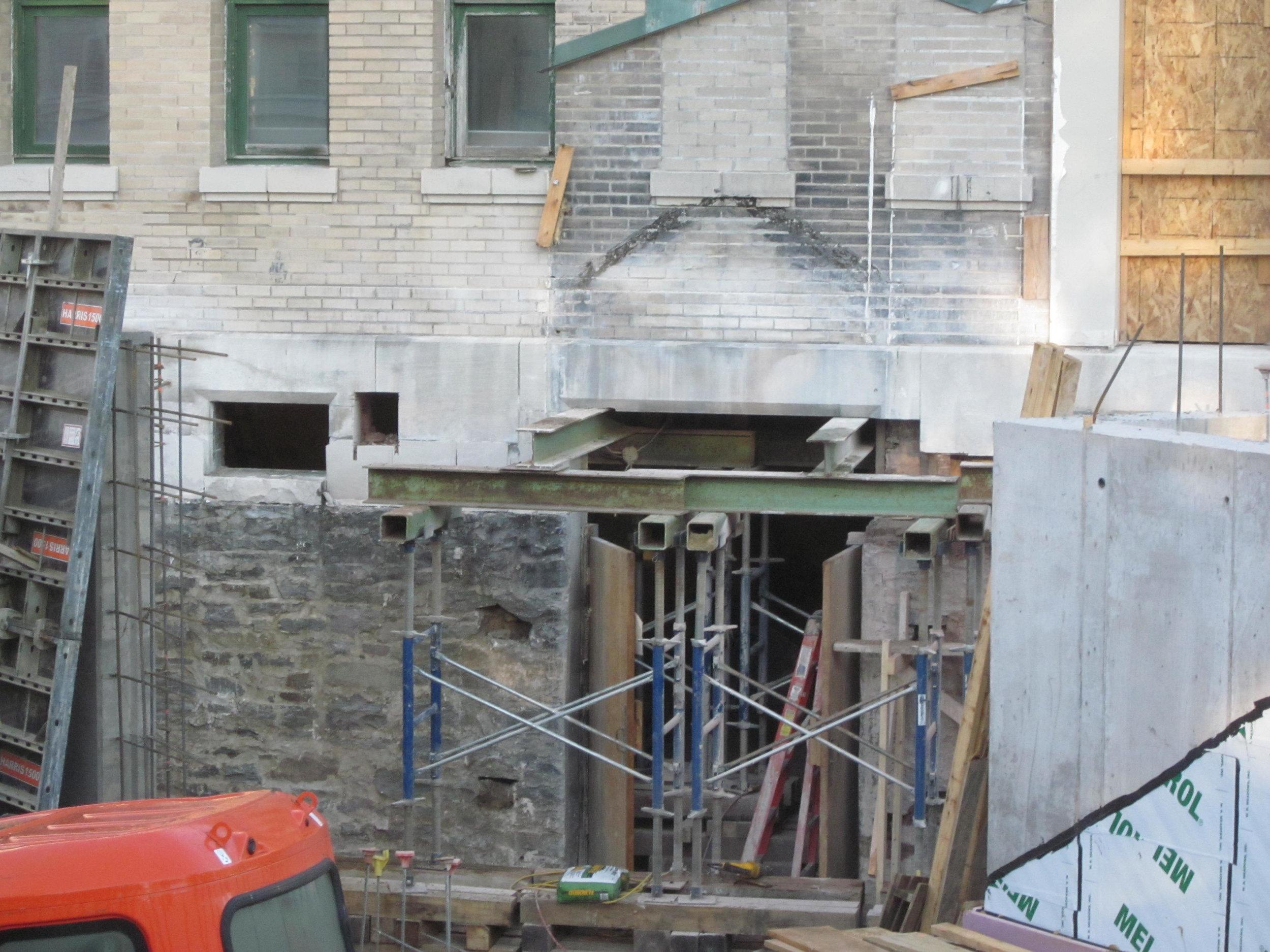 Framing for new atrium, lower level