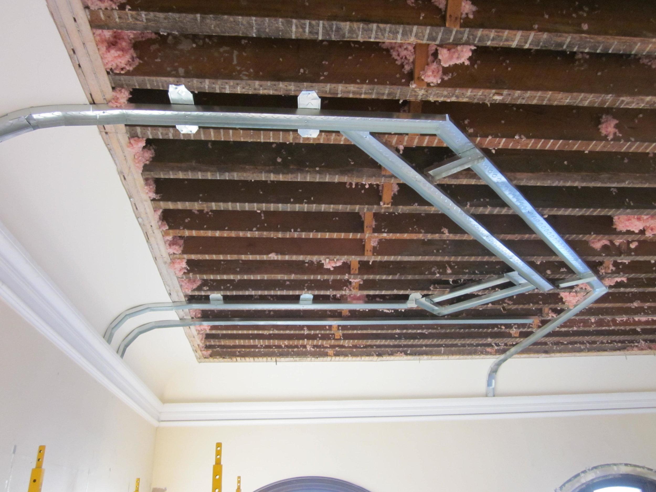 Framing for new restrooms, upper level