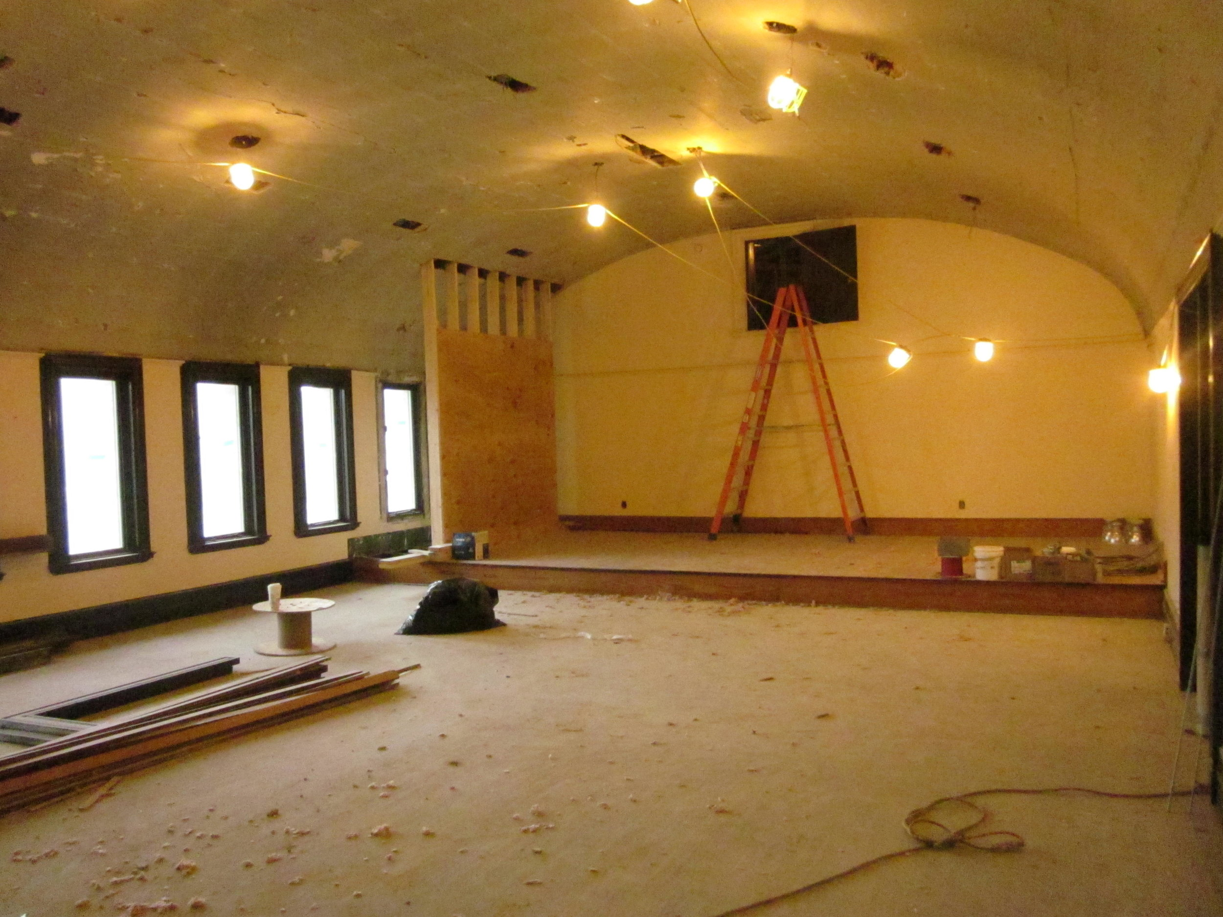 Carnegie Room. False wall holding up the roof so a window can be removed to create a doorway into the new south addition.