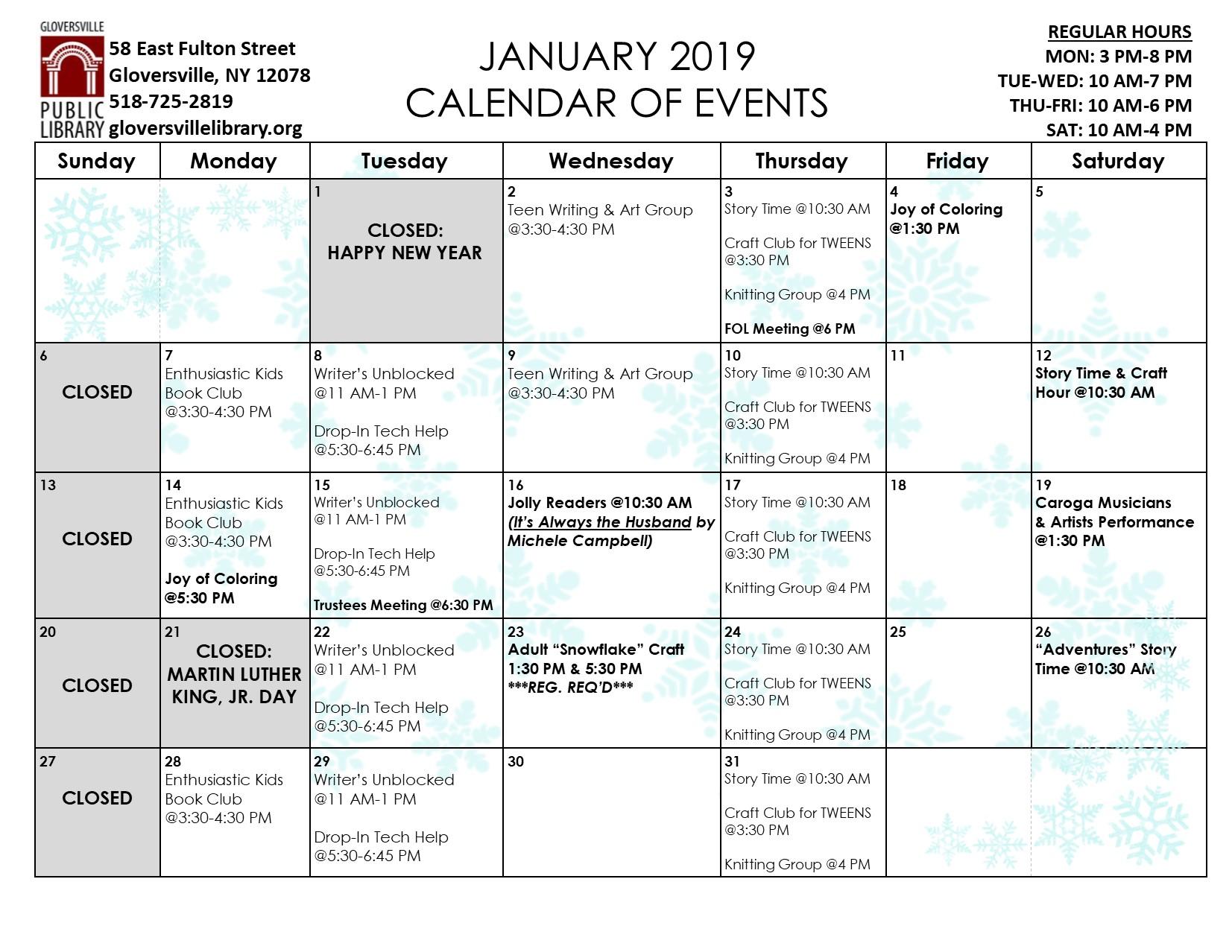 Click on the above calendar for a printable version as well as program descriptions.