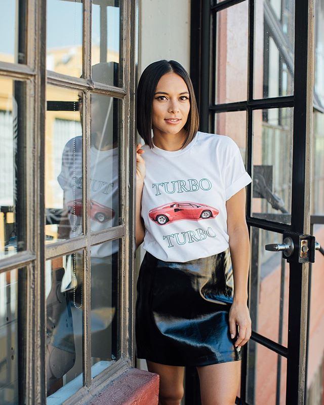 "Another shot of @sonya.balmores spotted in our ""Lambo High"" S/S tee. #Turbostore  Our first round of orders ship out at the end of the week! 🏎💨"