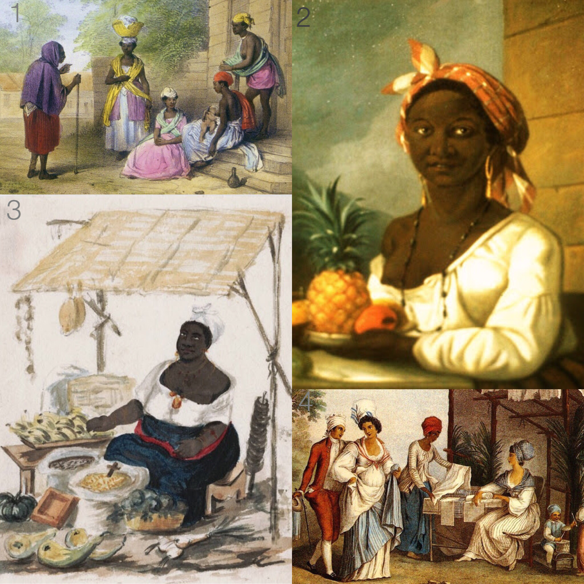 1. 19th Century Tignon Wearing Women of Color 2. 1786 Francois Beaucourt, Portrait of Servant Woman 3. Woman in Tignon Selling Fruits & Vegetables 4. Women of Santo Domingo in Tignons