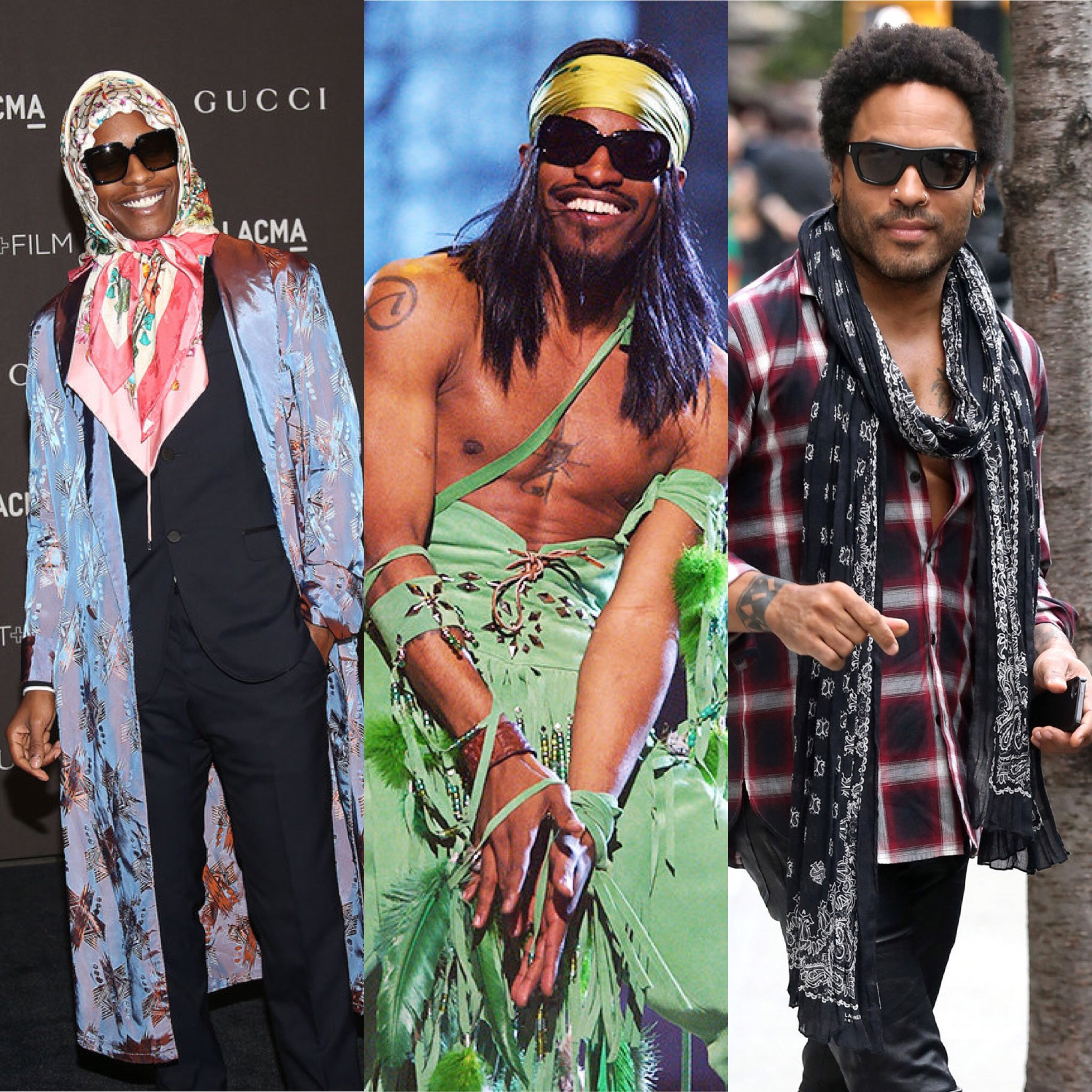 A$AP Rocky  wearing a headscarf at LACMA Art and Film Gala,  Andre 3000  performing at the 2004 Grammys,  Lenny Kravitz  rocking a scarf in New York City