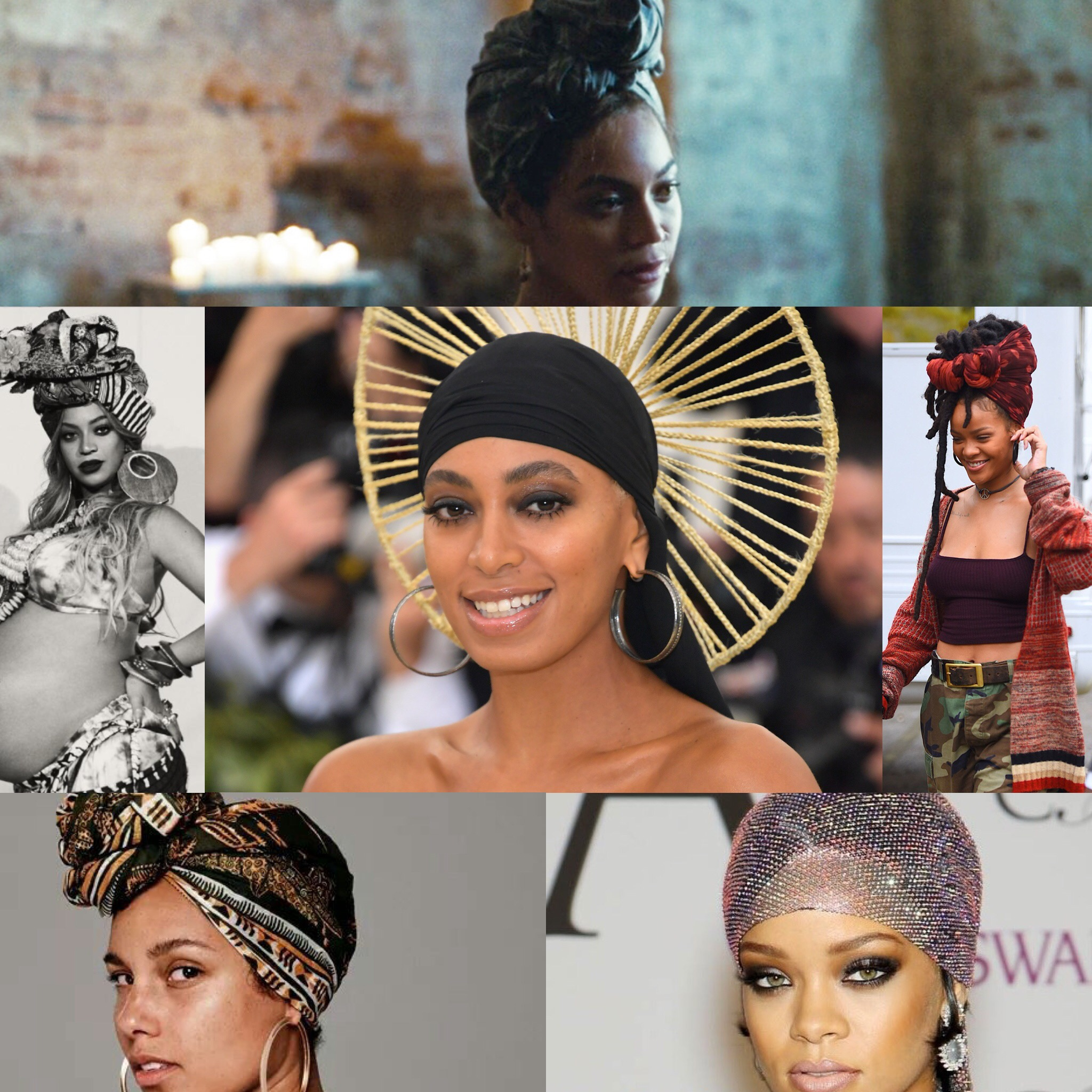 From left to right: Clip from  Beyonce 's Lemonade,  Beyonce 's Pregnancy Shoot,  Solange  at the Met Gala,  Rihanna  on the set of Ocean's 8, Headshot of  Alicia Keys ,  Rihanna  at CFDA Awards