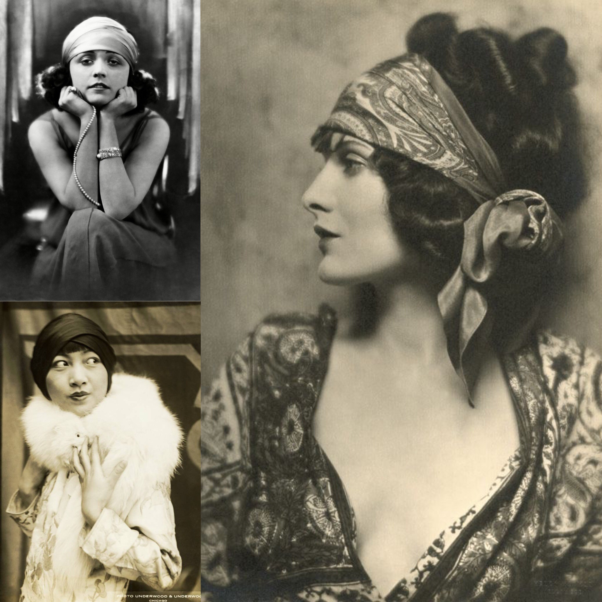 Top Left:  Polish Actress ,   Pola Negri 's 1920s fashion  Bottom Left:   Anna May Wong , Hollywood's first Asian-American Actress  Right:  Silent Film Star  Evelyn Brent , 1924