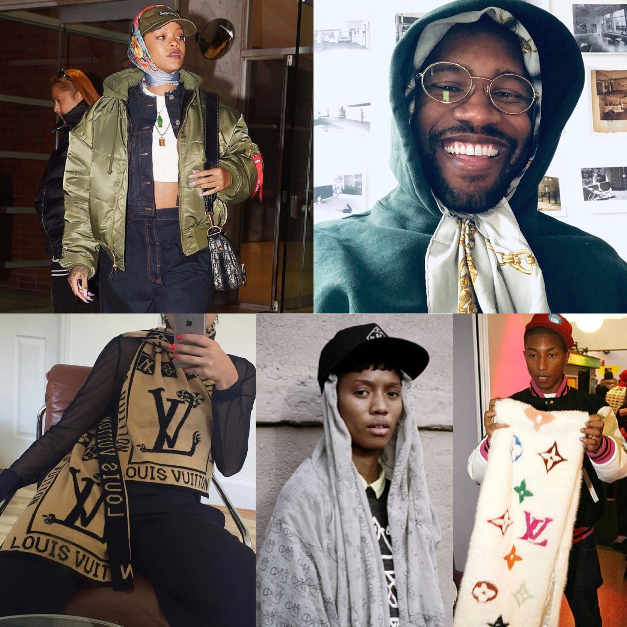 Top Left:   Rihanna  wearing a scarf on top of her Supreme cap  Top Right:   Frank Ocean  wearing a scarf under his hoodie  Bottom Left:  Streetwear star,  Ava Nope   Bottom Middle:   LG scarf  worn in Streetwear shoot  Bottom Right:   Pharrell  admiring a long mink scarf