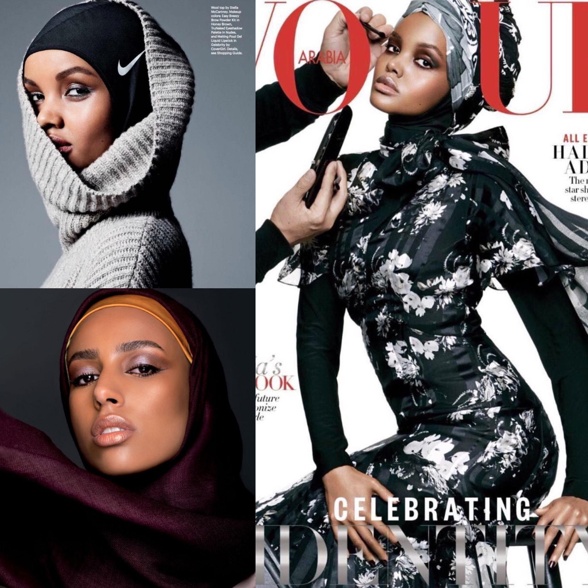 Top Left:  Halima Aden modeling a  Nike Hijab   Bottom Left:  Photograph by Mireya De Sagarra for  Vogue Arabia   Right:  Halima Aden wearing hijab on cover of  Vogue Arabia