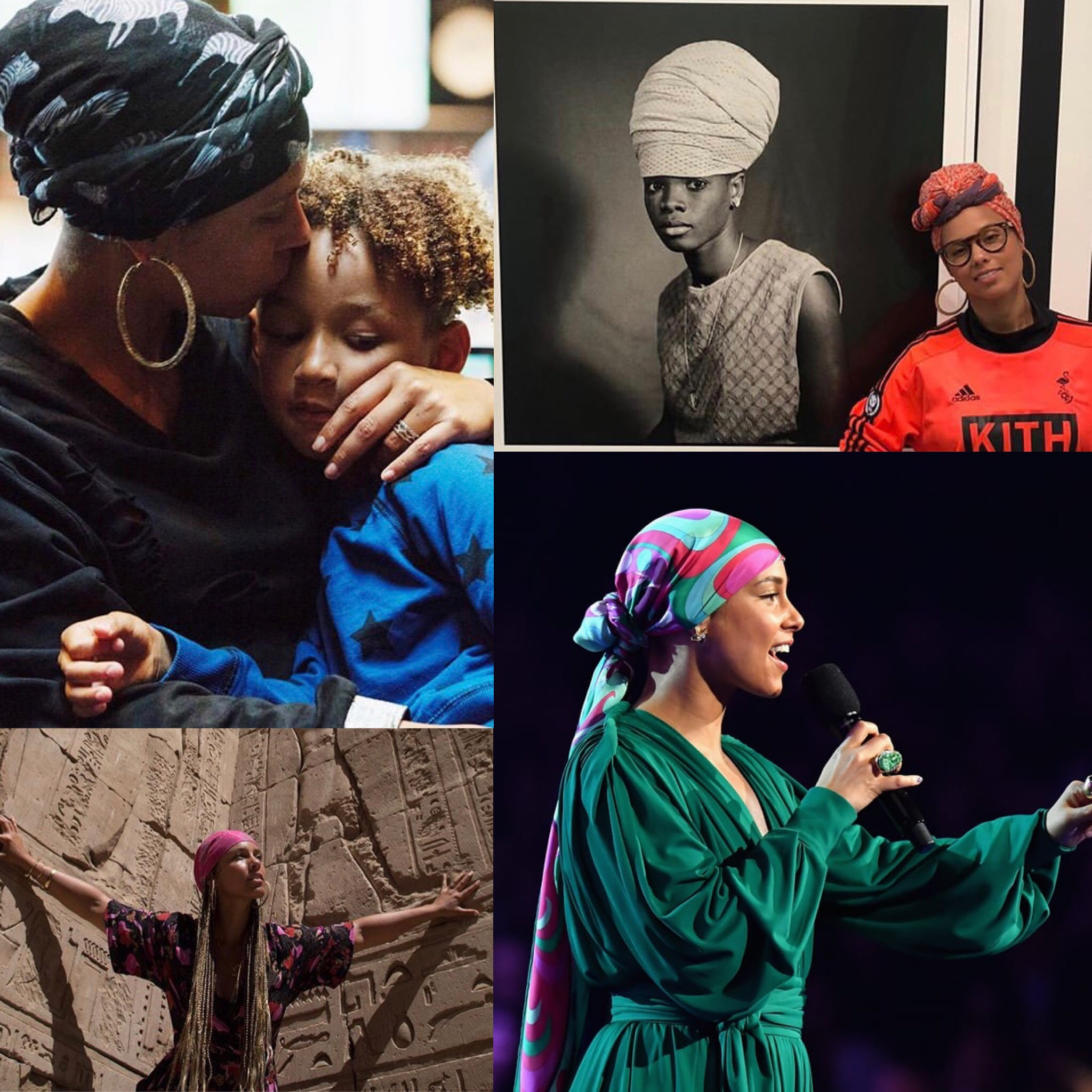 Top Left:   Alicia Keys  and her son  Bottom Left:  Alicia Keys in  Egypt   Top Right:  Alicia Keys and  a Sanlé Sory piece   Bottom Right:  Alicia Keys Hosting the  61st Annual Grammys