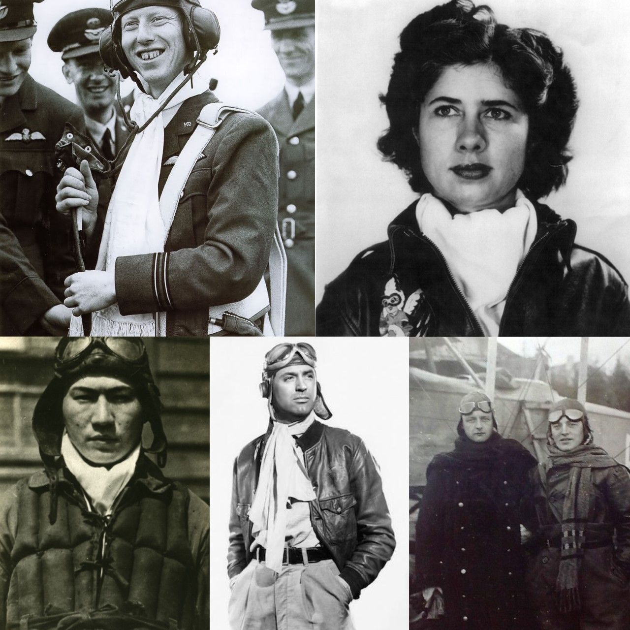 """Top Left:  Pilot lands with  white scarf   Top Right:  Pilot """"Tommy"""" Tompkins in  scarf   Bottom Left:  Kamikaze Pilot in  scarf   Bottom middle:  Pilot posing in  scarf   Bottom Right:  WWI Pilots pose in  scarves"""