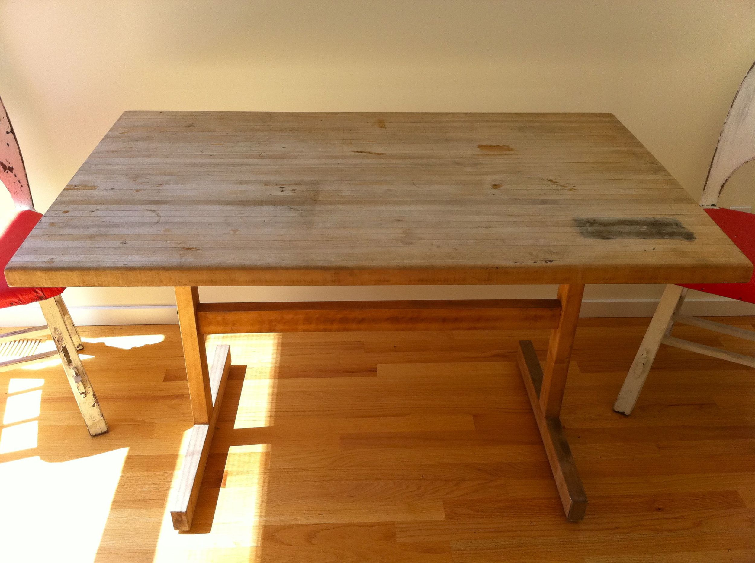 butcher block table before