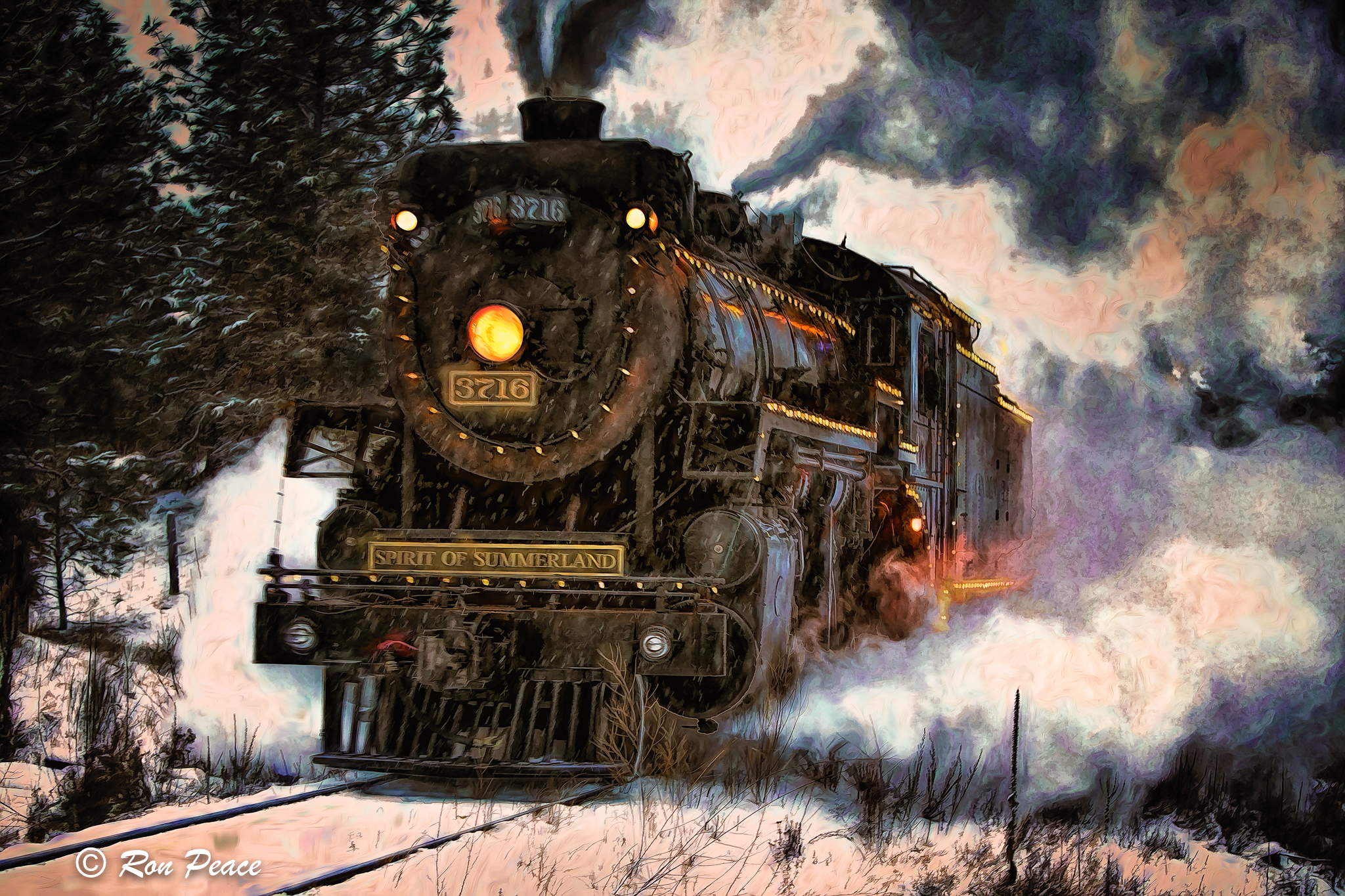 A mixed media (acrylic and photo) of Old 3719 conveys the power of this locomotive steam engine