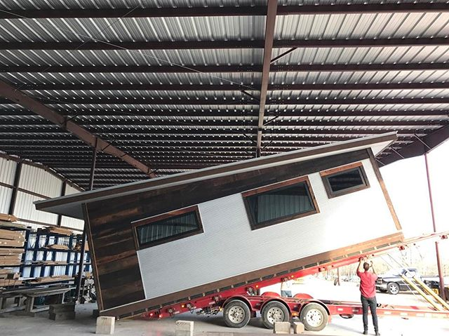 Yes, your eyes are not deceiving you, that is a 12,000 lb house being lifted into position on a flat bed truck 😮. Delivery of a Reclaimed Space is both exhilarating and nerve racking. Luckily, every unit we've delivered has made it safely to its destination. We're proud to be working on our 59th Reclaimed Space, regardless of how nerve racking the moving process can be 😅. For more information, check out our website located on our bio!