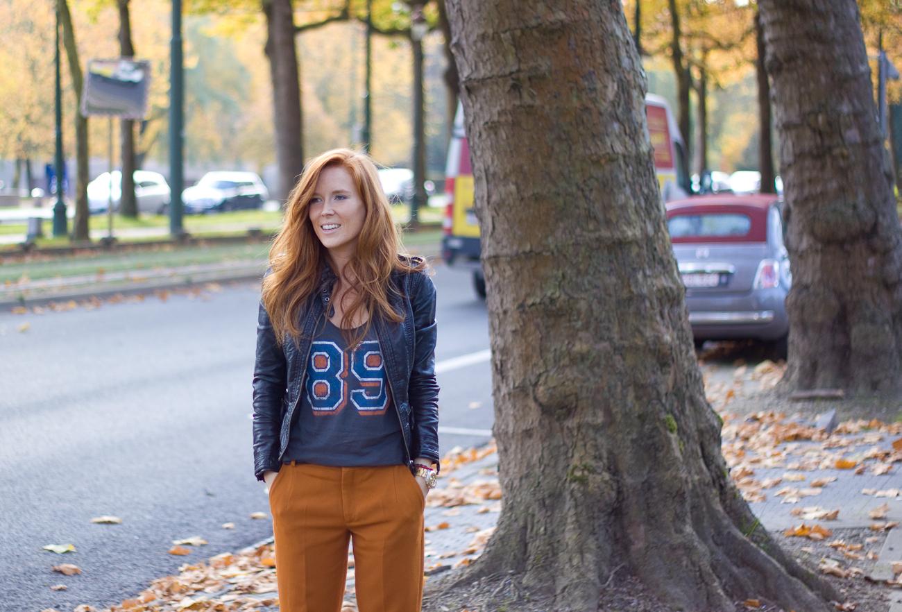 zara orange trousers